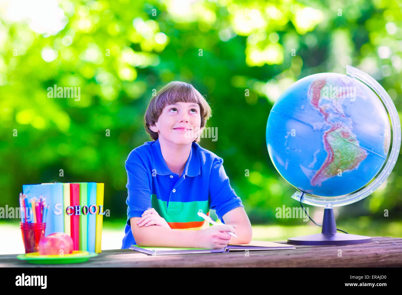 Child in school yard. Kids study. Happy laughing teenager student boy Stock Photo, Royalty Free ...
