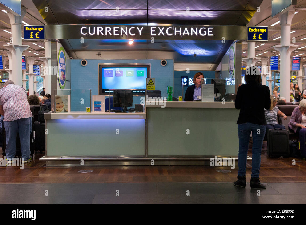 ice bureau de change international currency exchange eurostar stock photo royalty free image. Black Bedroom Furniture Sets. Home Design Ideas