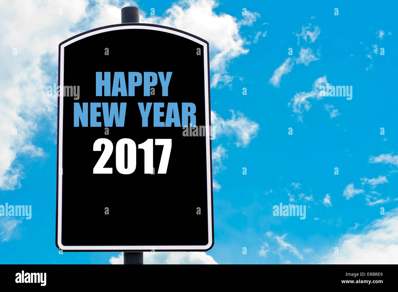 HAPPY NEW YEAR 2017 Motivational Quote Written On Road Sign Isolated Stock  Ph..