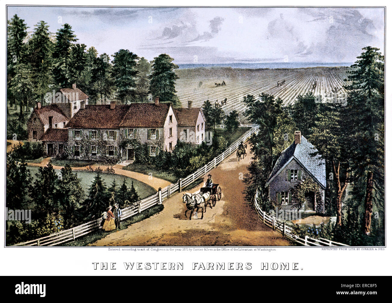 1870s THE WESTERN FARMERS HOME   CURRIER   IVES LITHOGRAPH   1871. 1870s THE WESTERN FARMERS HOME   CURRIER   IVES LITHOGRAPH   1871