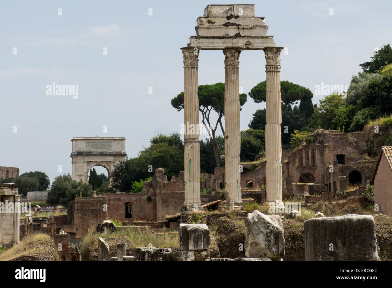 three columns remaining from the temple of castor and pollux in the stock photo royalty free. Black Bedroom Furniture Sets. Home Design Ideas