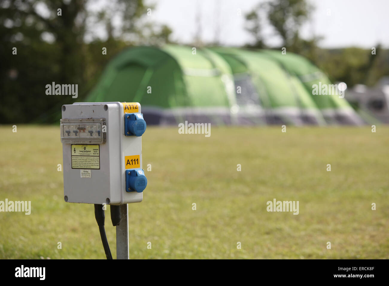Electric hook up power point on a c&site in the UK used by caravans and tents & Electric Hook Up Stock Photos u0026 Electric Hook Up Stock Images - Alamy