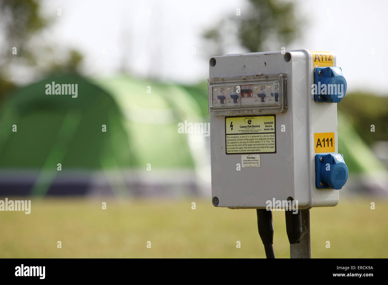 Electric hook up power point on a c&site in the UK used by caravans and tents & Electric hook up power point on a campsite in the UK used by ...