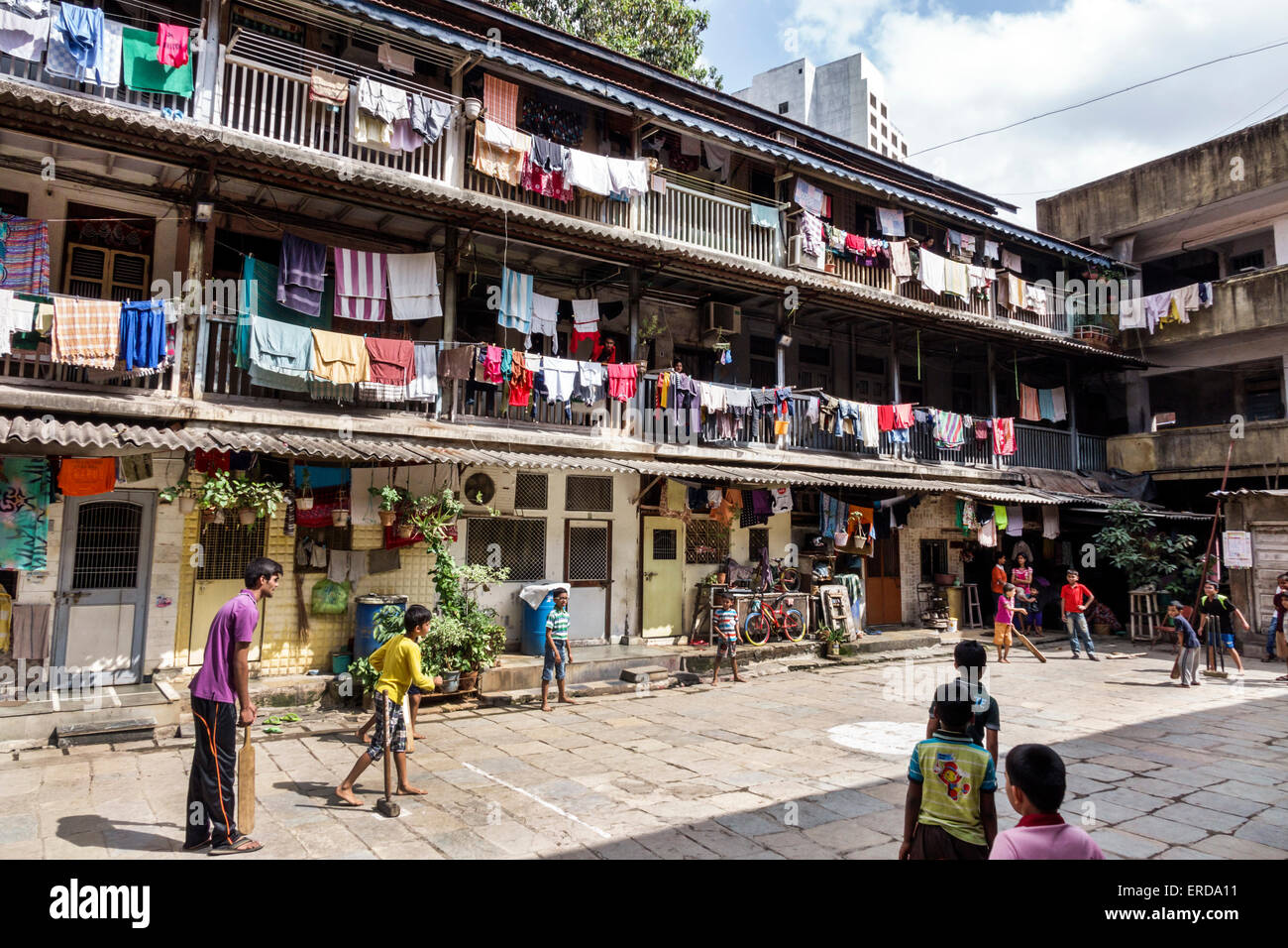 Apartment Building Courtyard mumbai india asian lower parel old apartment building hanging