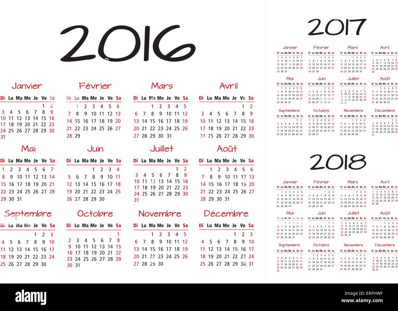 French 2016 2017 and 2018 year vector calendar red and black Stock ...
