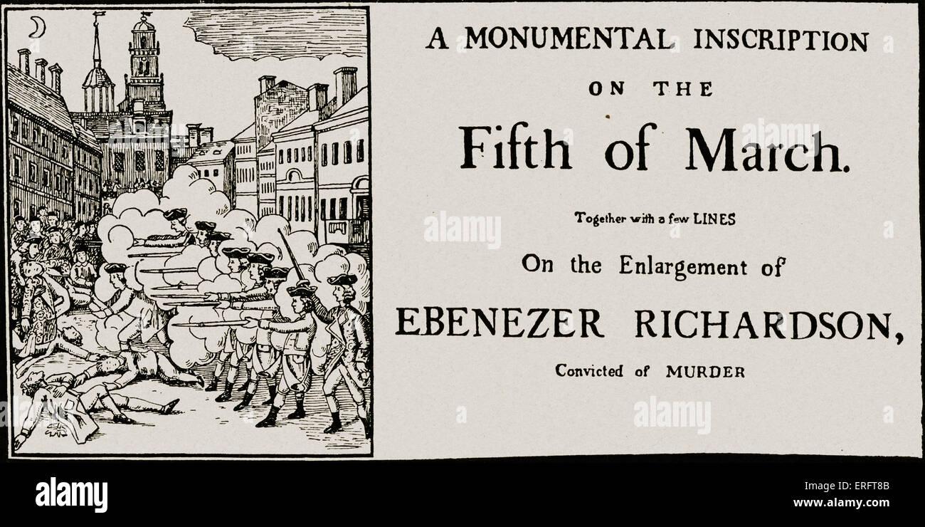 Boston Massacre and Ebenezer Richardson s conviction for murder – Contemporary Flyer