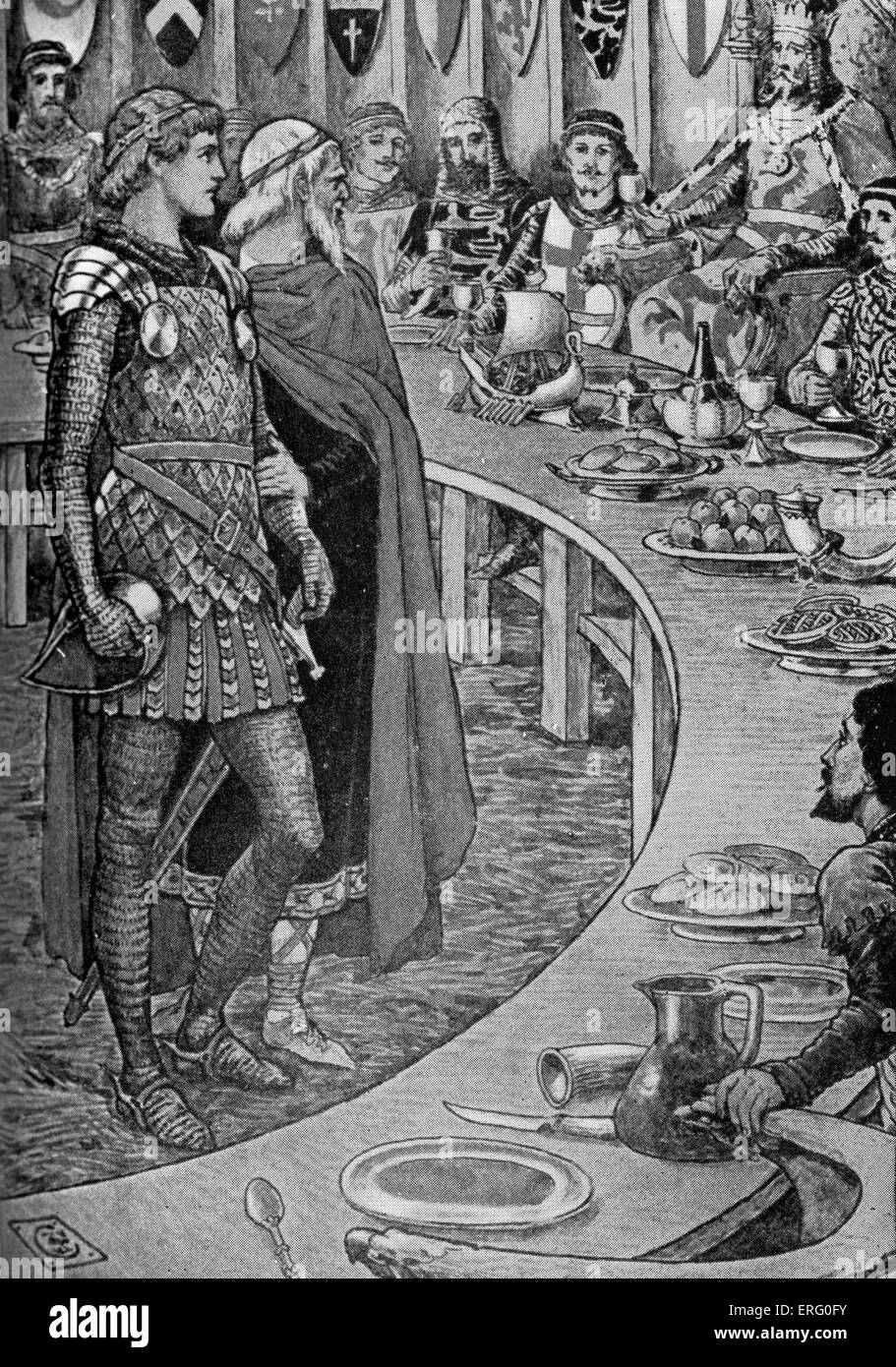 king arthur an old man presents sir galahad to king arthur from