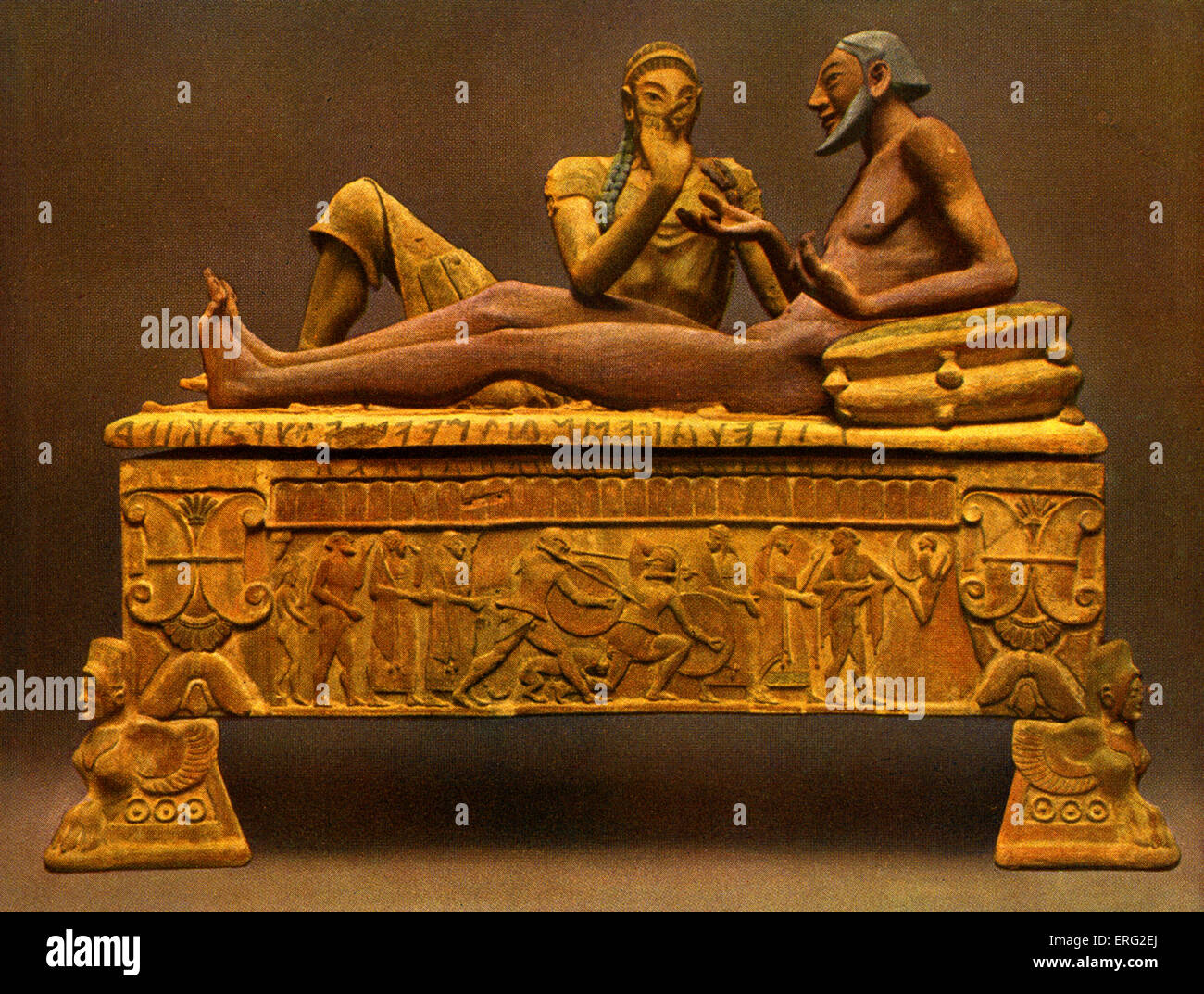 Painted Etruscan sarcophagus showing a reclining man in conversation with winged beast feet and a  sc 1 st  Alamy & Etruscan Sarcophagus Stock Photos u0026 Etruscan Sarcophagus Stock ... islam-shia.org