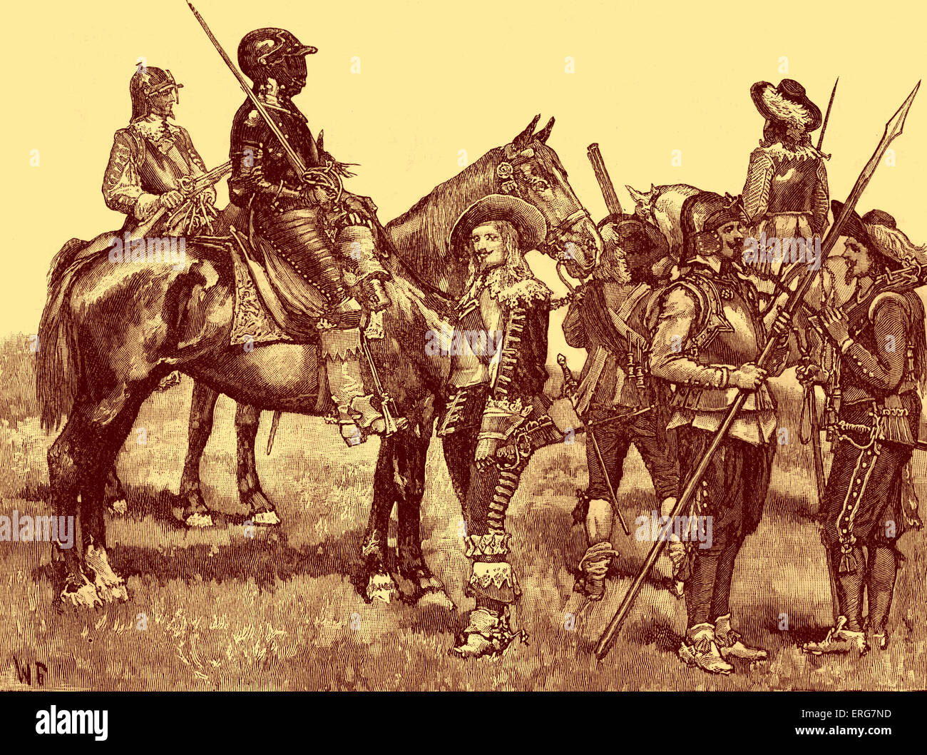 Cavalier Soldiers - English Civil War, 1642–1651 Stock ...