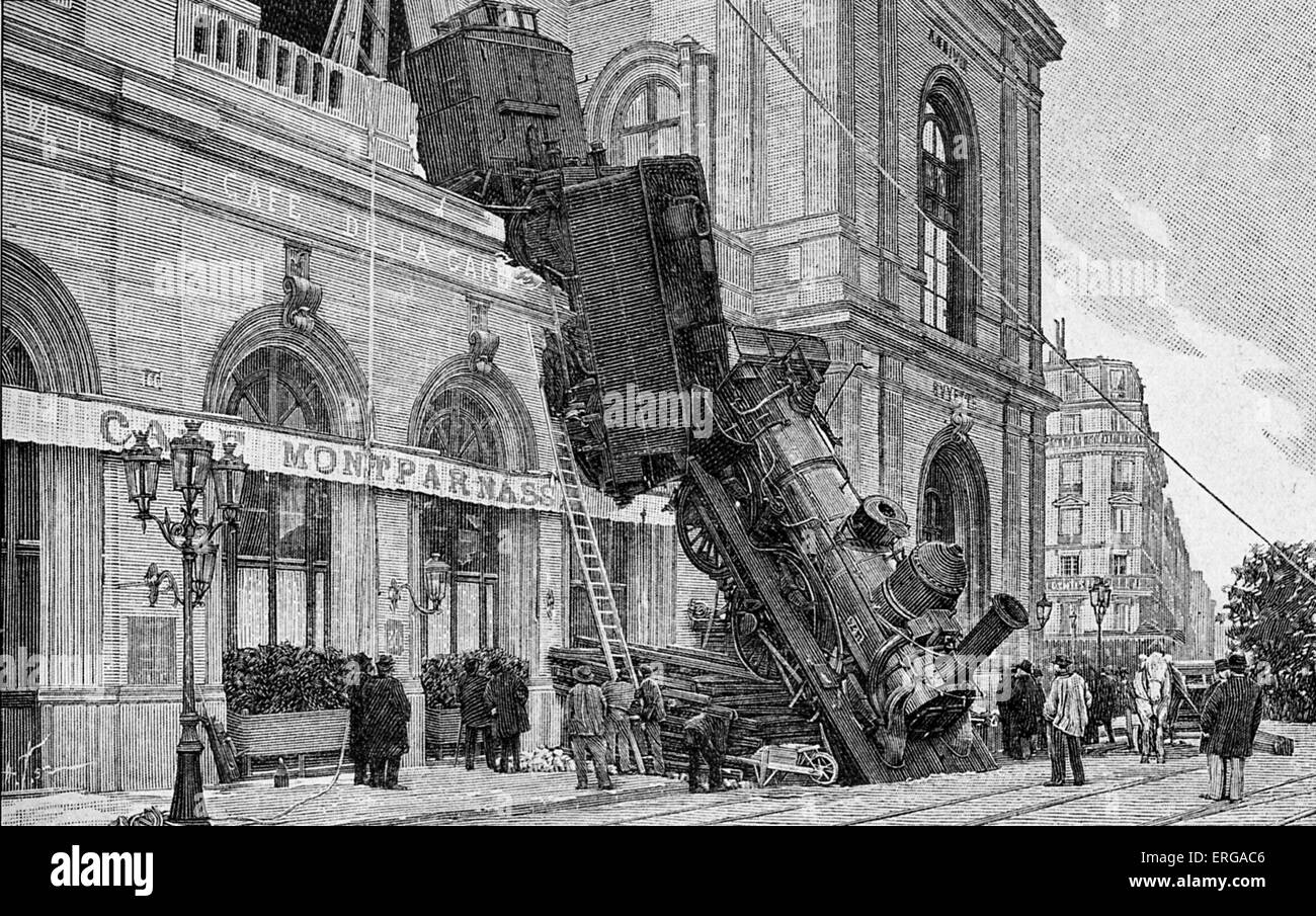 railway accident at gare montparnasse paris 22 october 1895 caused stock photo 83337974 alamy. Black Bedroom Furniture Sets. Home Design Ideas