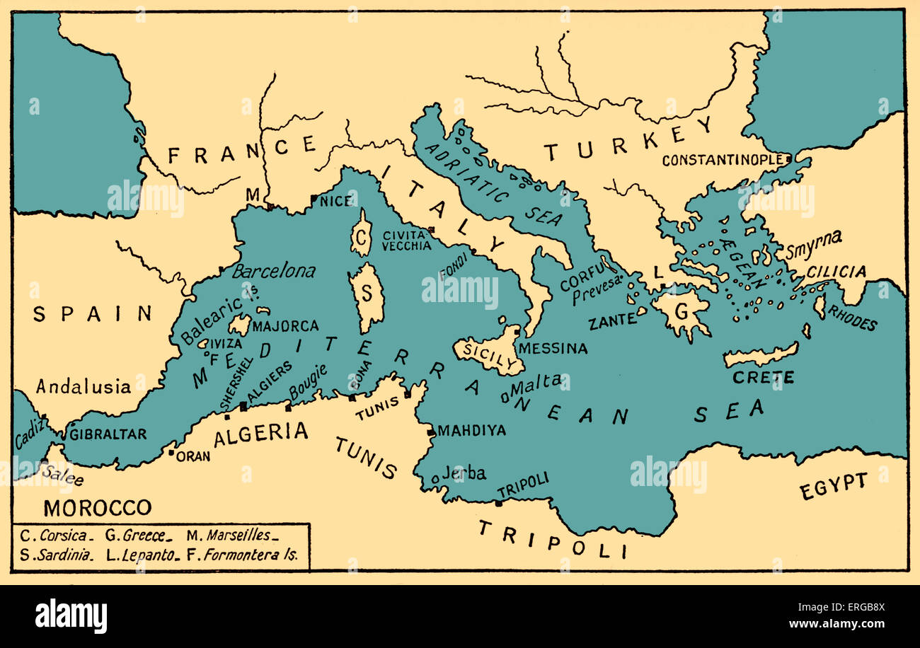 Map of Ancient Piracy and Barbary Corsairs in Mediterranean Sea