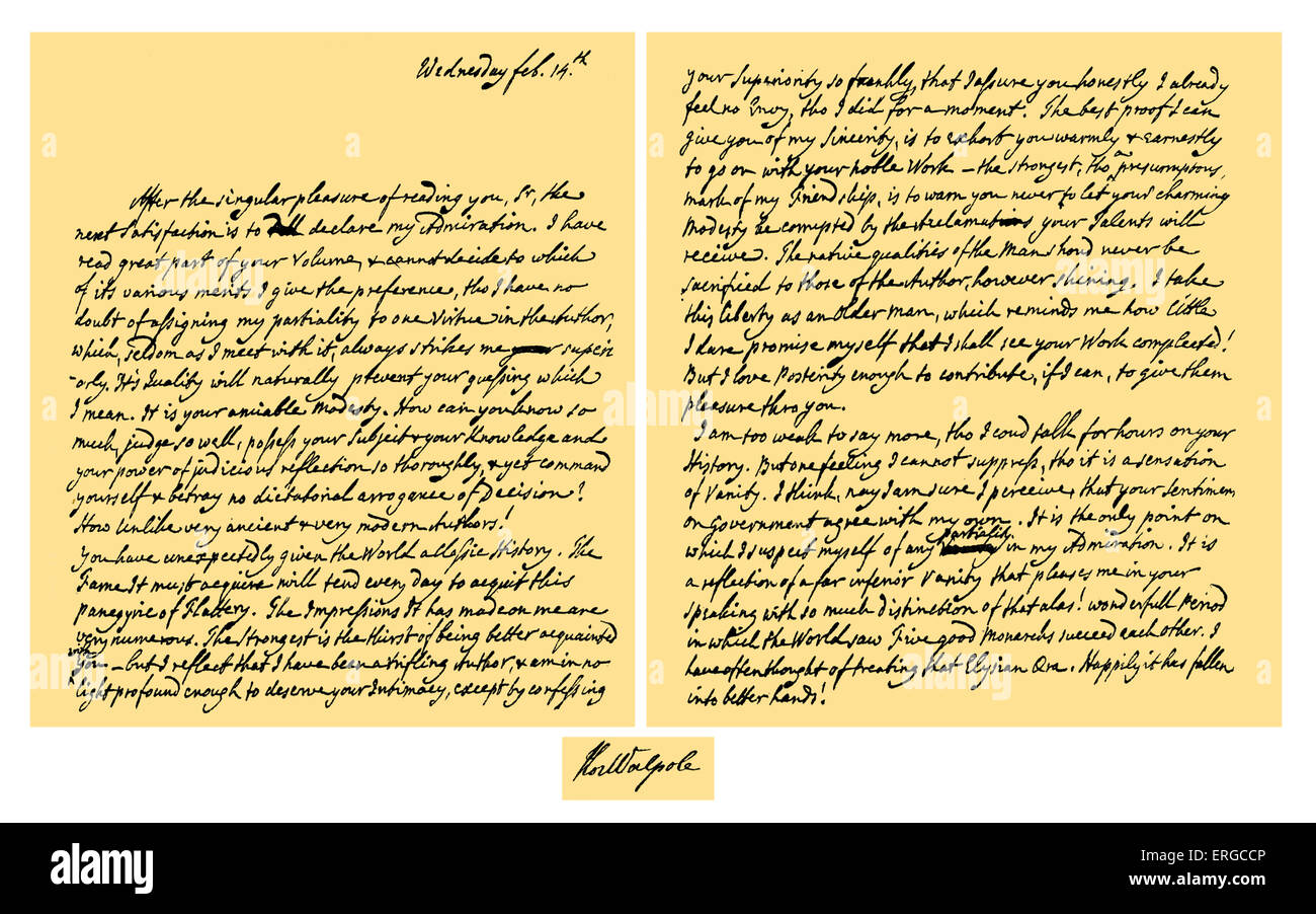 Autograph Letter from Horace Walpole to Edward Gibbon expressing – Admiration Letter
