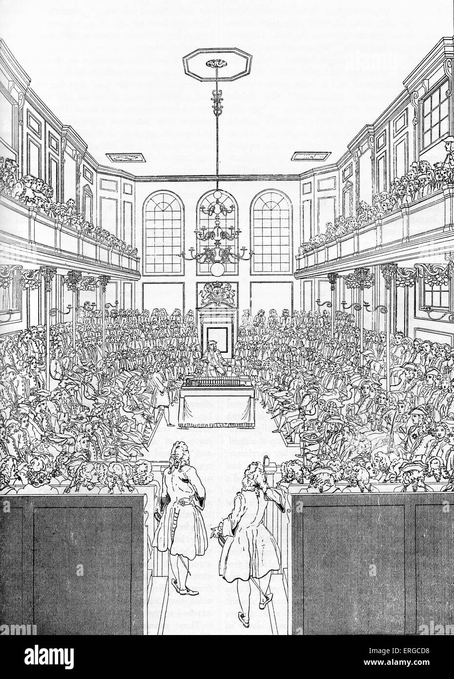 Inside House Drawing: House Of Commons In London, 1742