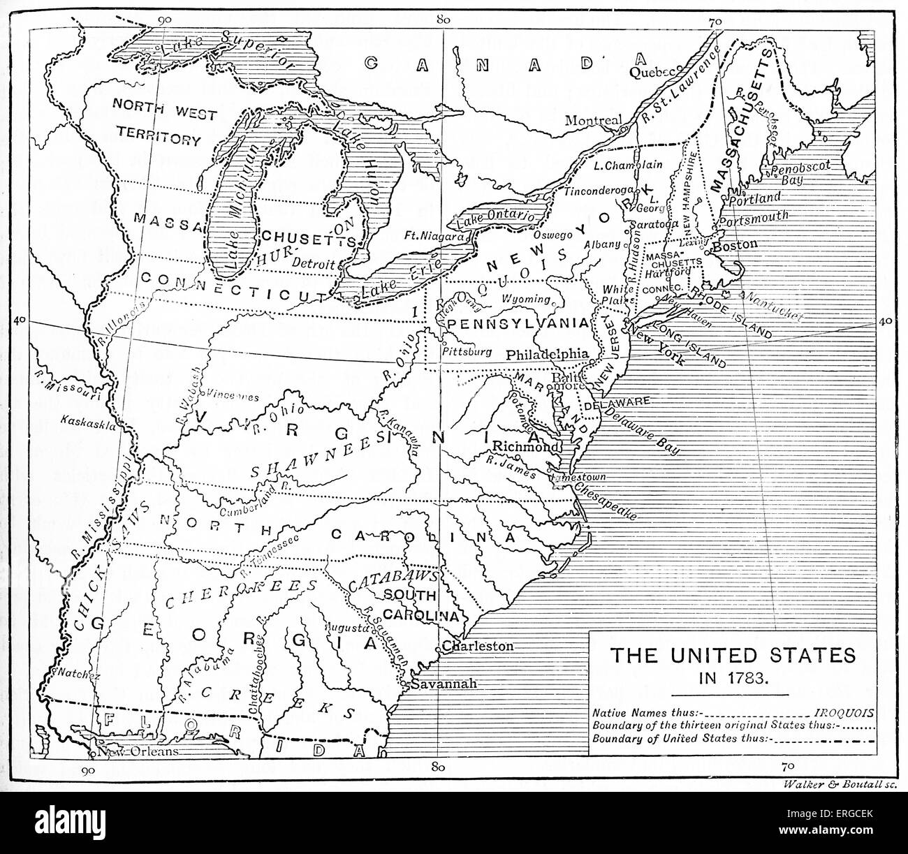 Map Of Postindependence United States Shows The Thirteen - Us map 1783