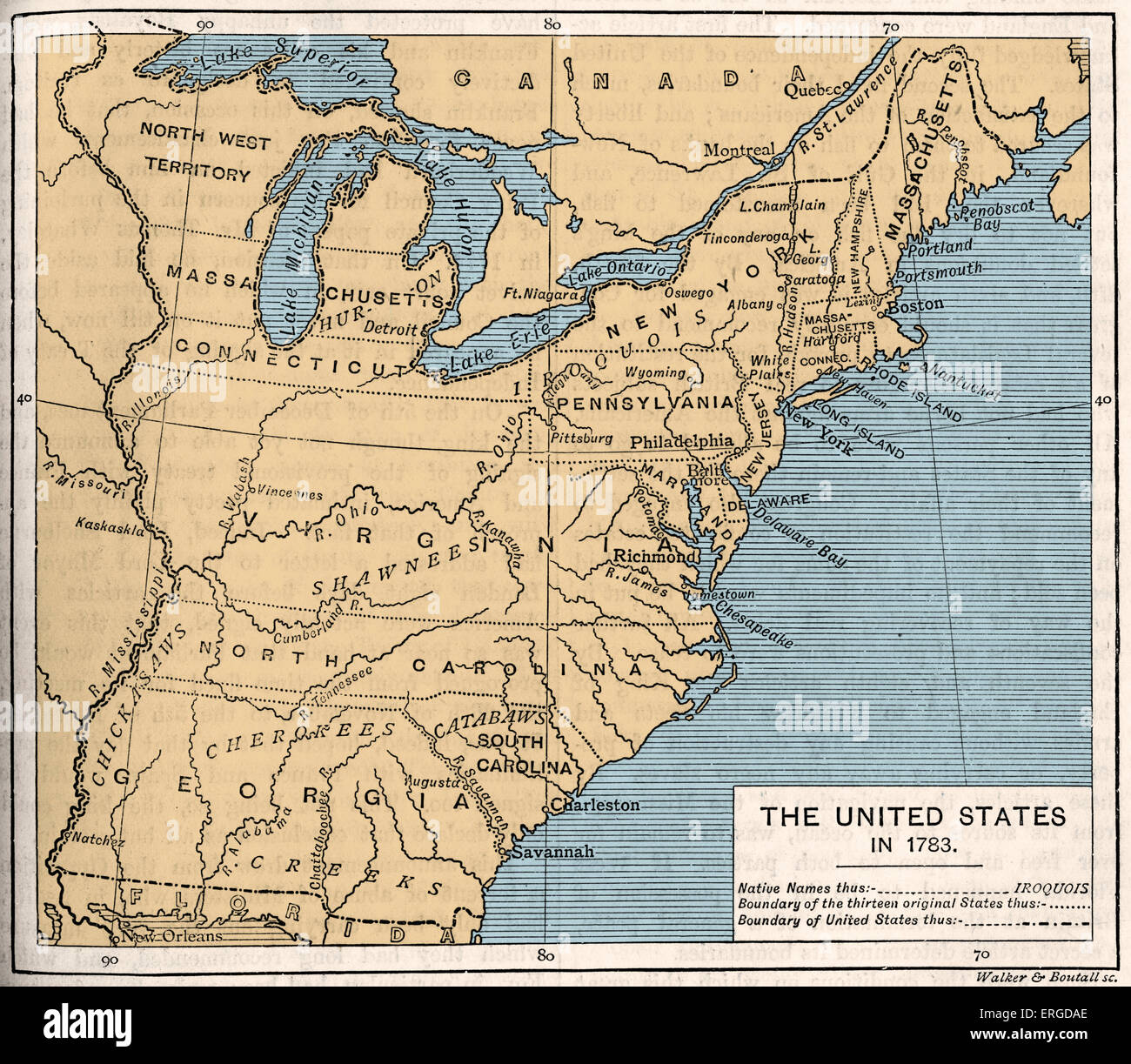 Map Of Post Independence United States 1783 Shows The Thirteen Original States