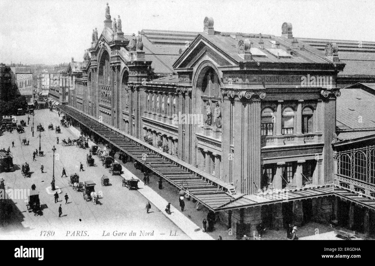 gare du nord paris c 1900 train station stock photo royalty free image 83340470 alamy. Black Bedroom Furniture Sets. Home Design Ideas