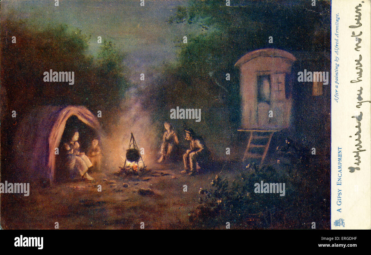 A gypsy enc&ment. Shows a family gathered round a fire their caravan and tent in the background. After a painting by Alfred & A gypsy encampment. Shows a family gathered round a fire their ...