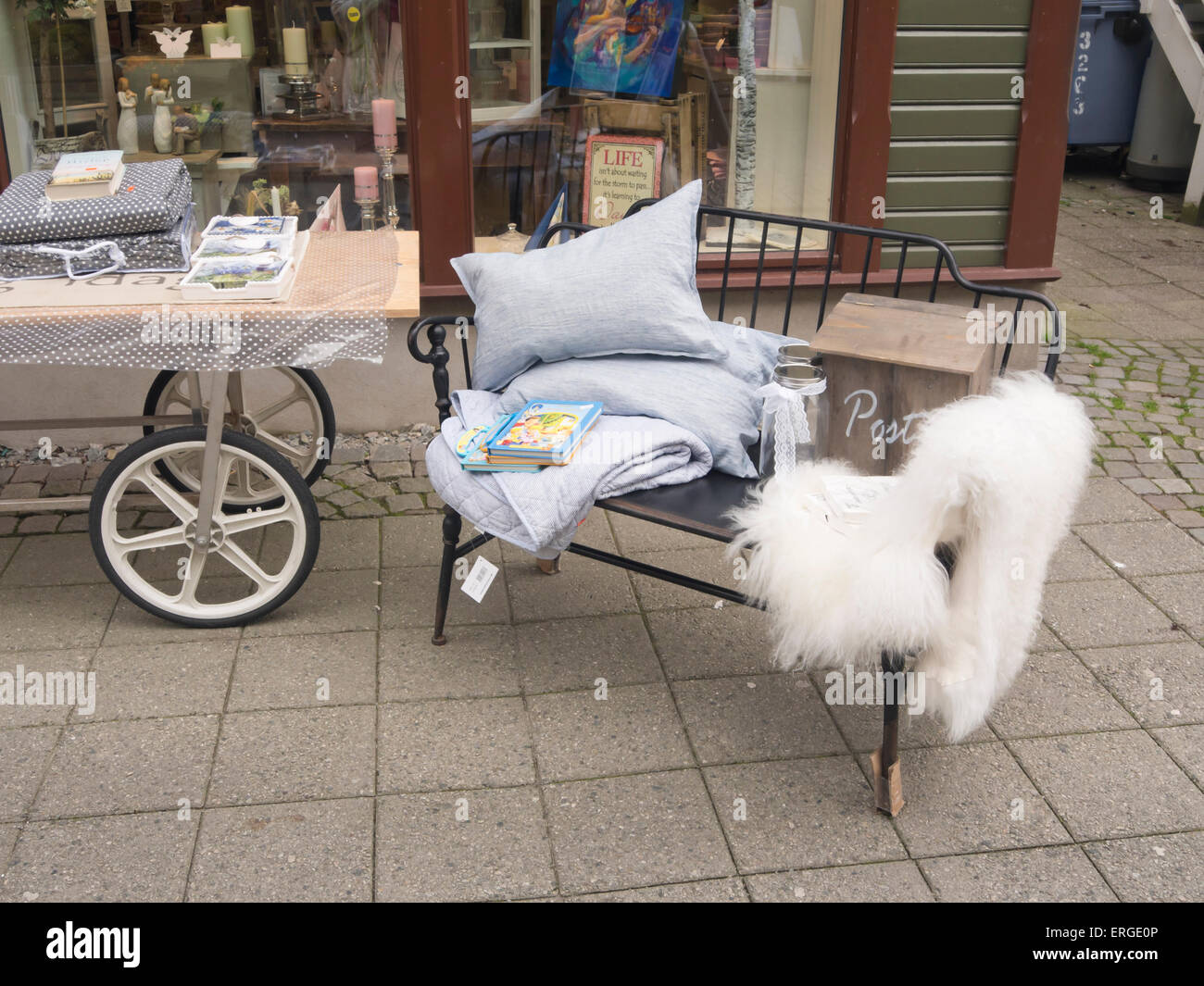 home interior design shop taking their trendy display outdoors home interior design shop taking their trendy display outdoors bench sheepskin cushions and more langgata sandnes norway