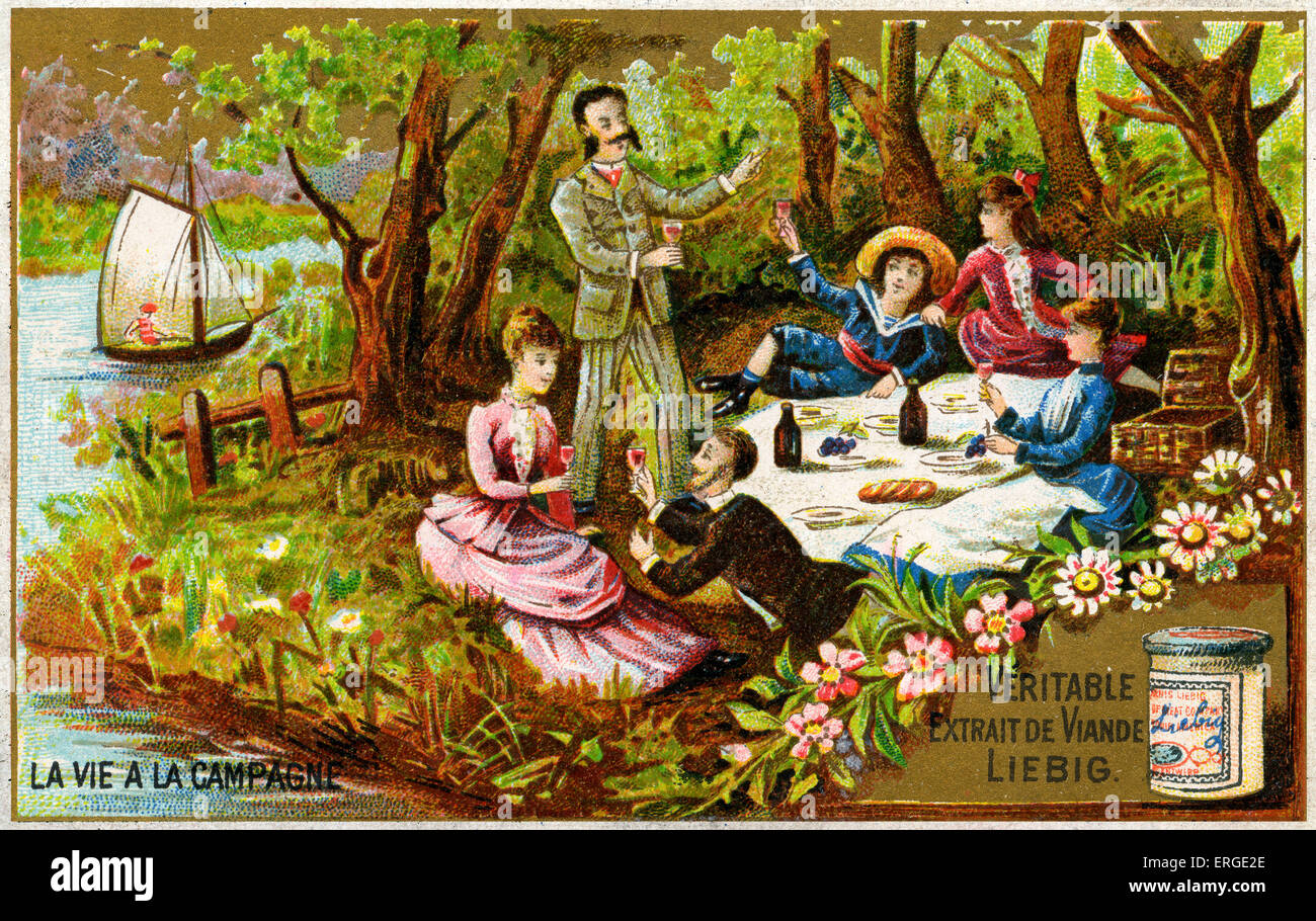 picnic in the countryside caption reads 39 la vie la campagne 39 stock photo royalty free image. Black Bedroom Furniture Sets. Home Design Ideas