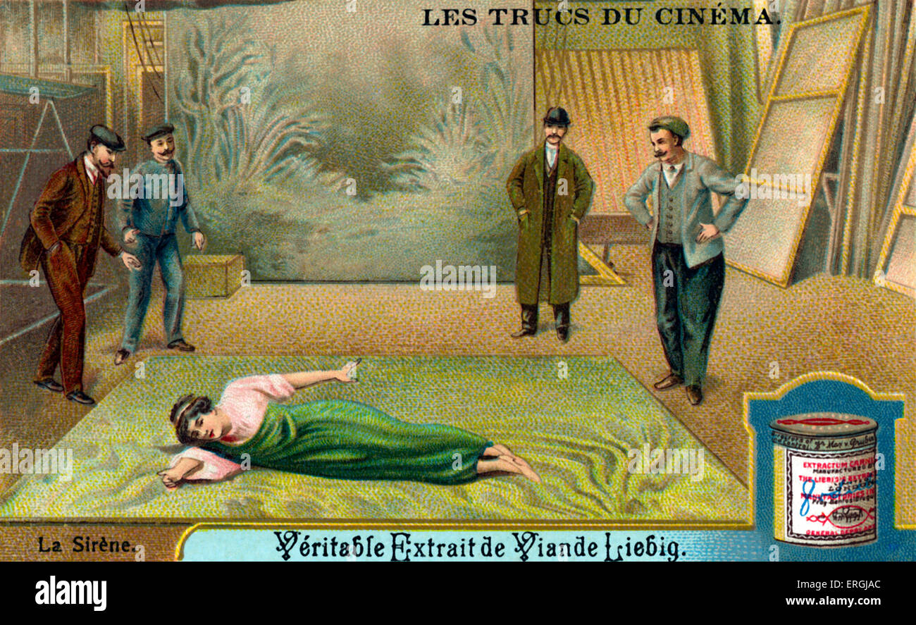 Tricks Of Early Cinema: The Siren. Creating The Illusion Of Swimming In The  Sea By Lying On A Painted Cover. Illustration On