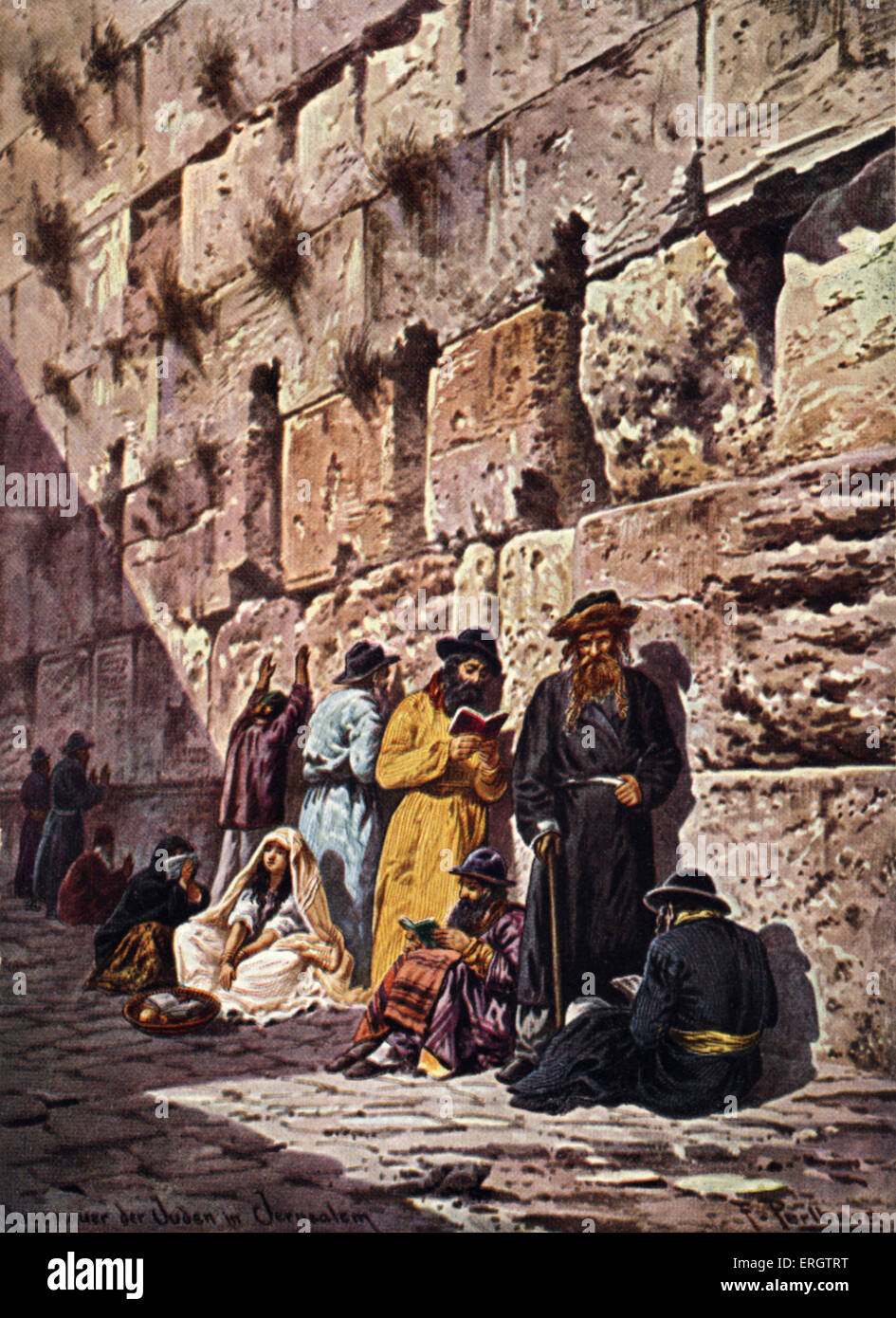 the wailing wall in the old city of jerusalem religious jewish