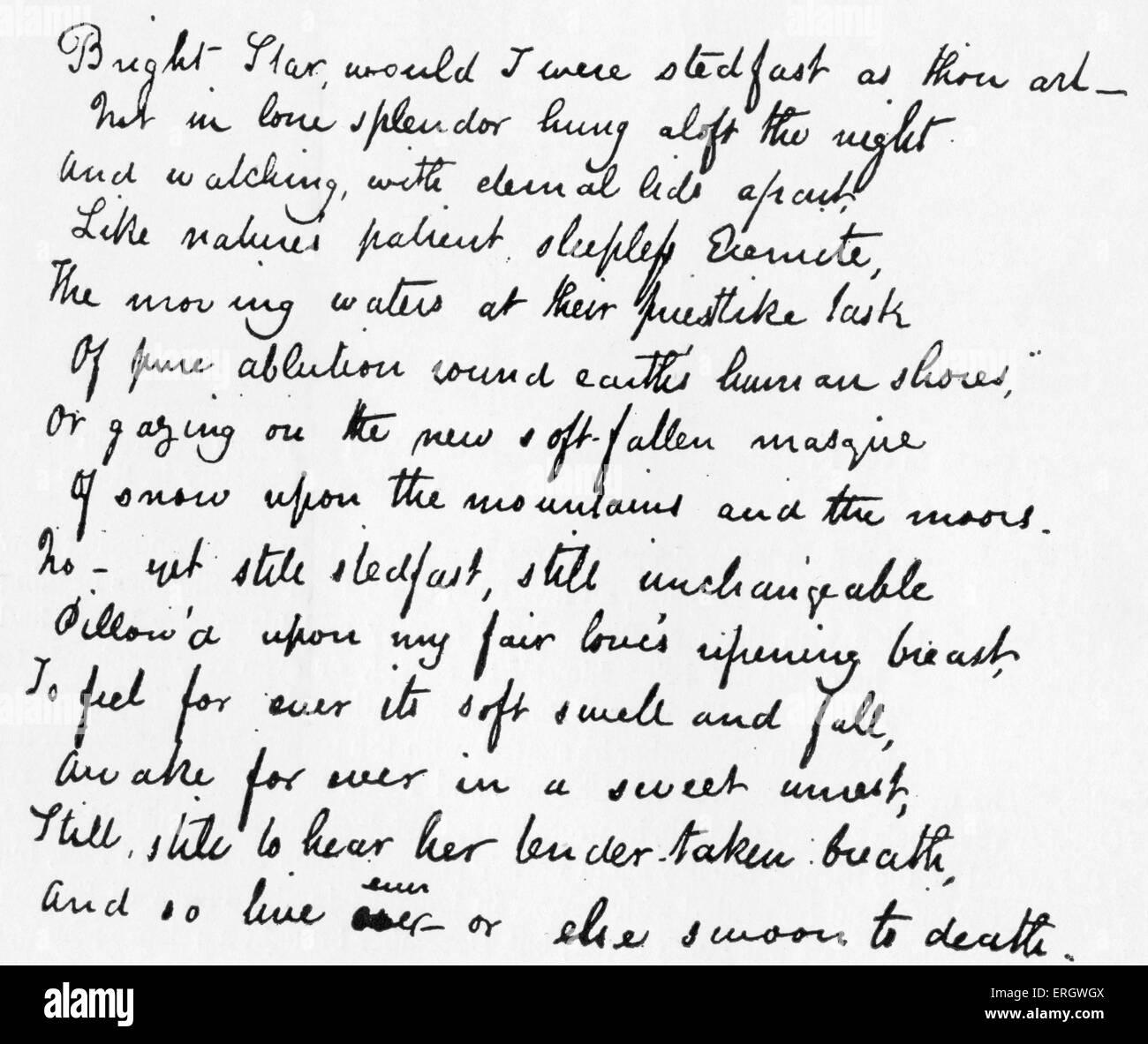 Last Sonnet' by John Keats. Poem starts: 'Bright star would I were ...