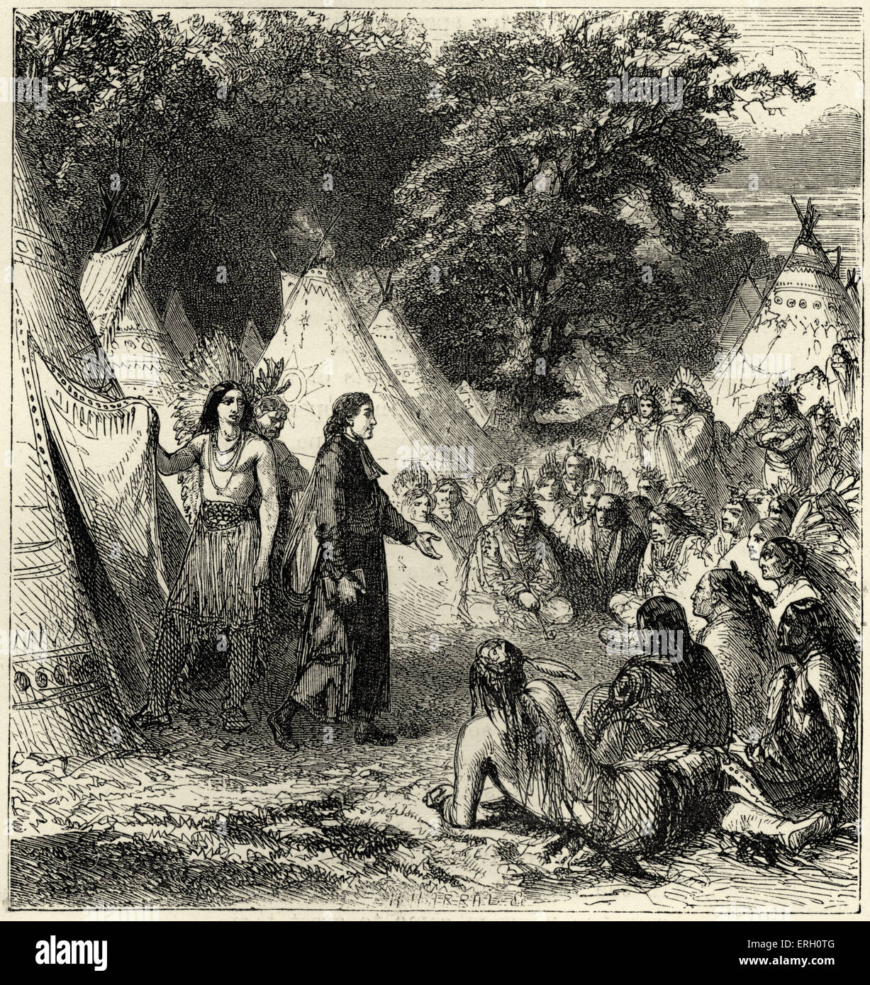 song of hiawatha by henry wadsworth longfellow hiawatha s stock  song of hiawatha by henry wadsworth longfellow hiawatha s departure christian missionary arrives at hiawatha s encampment