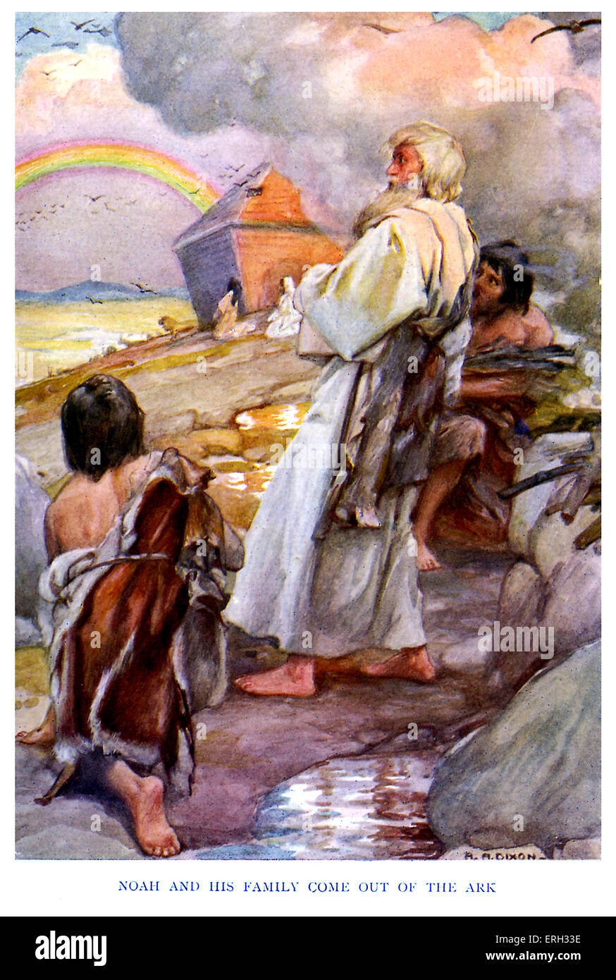 the flood caption reads u0027noah and his family come out of the