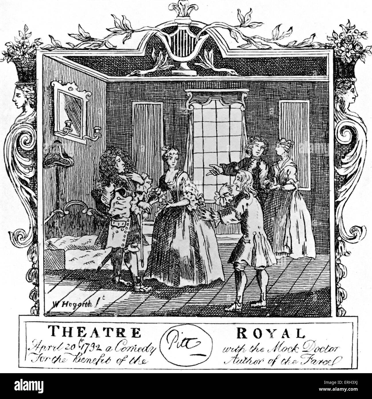 Henry Fielding's ' Mock Doctor,' theatre ticket reads: ' 20 April ...