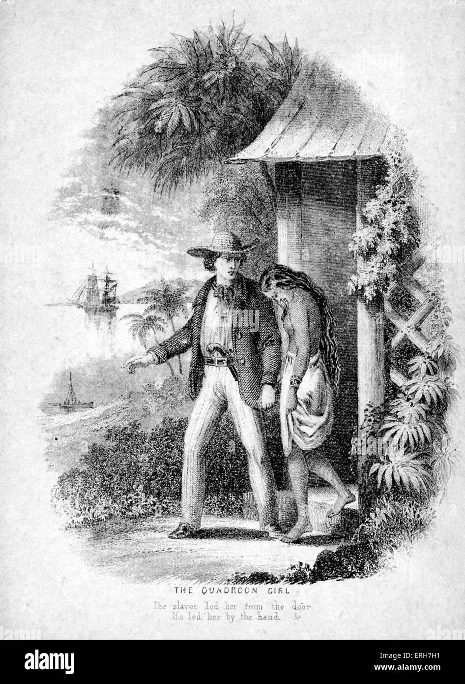 the quadroon girl illustration to epic poem the song of stock photo the quadroon girl illustration to 1885 epic poem the song of hiawatha by henry wadsworth longfellow caption the slaver led her from the