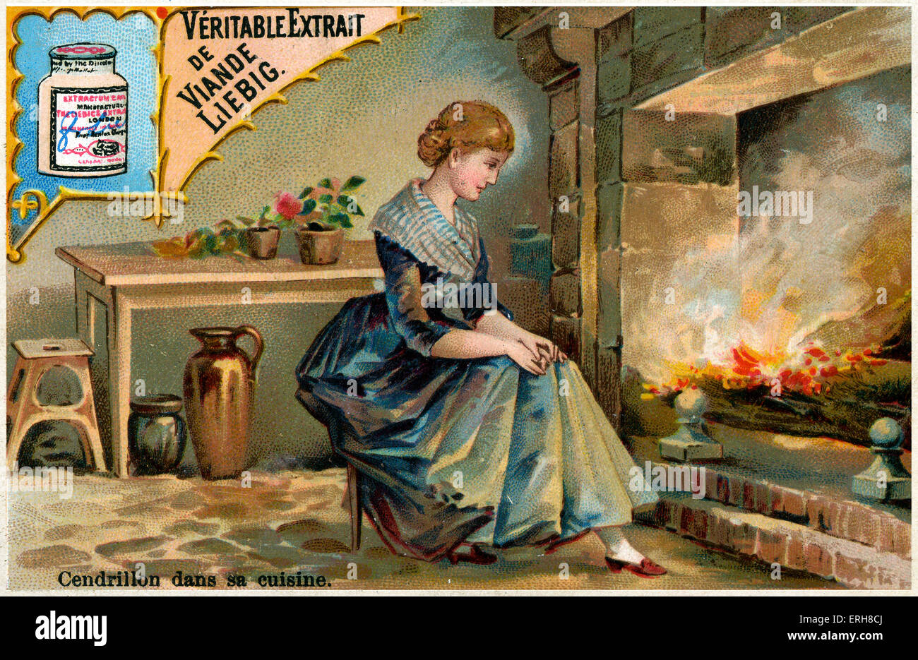 Cinderella by the kitchen fireplace, sitting by the cinders ...
