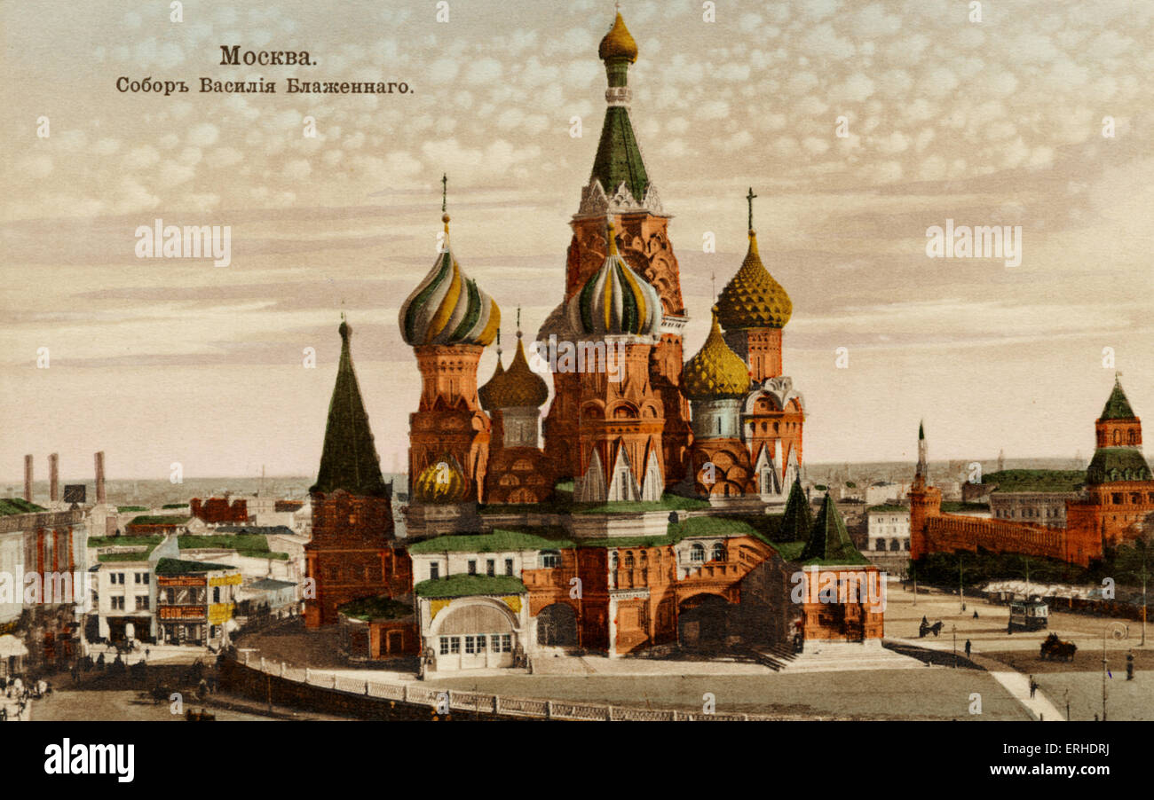 St. Basil\u0027s Cathedral in Moscow (St. Vasil-Blajennoy), early 20th ...