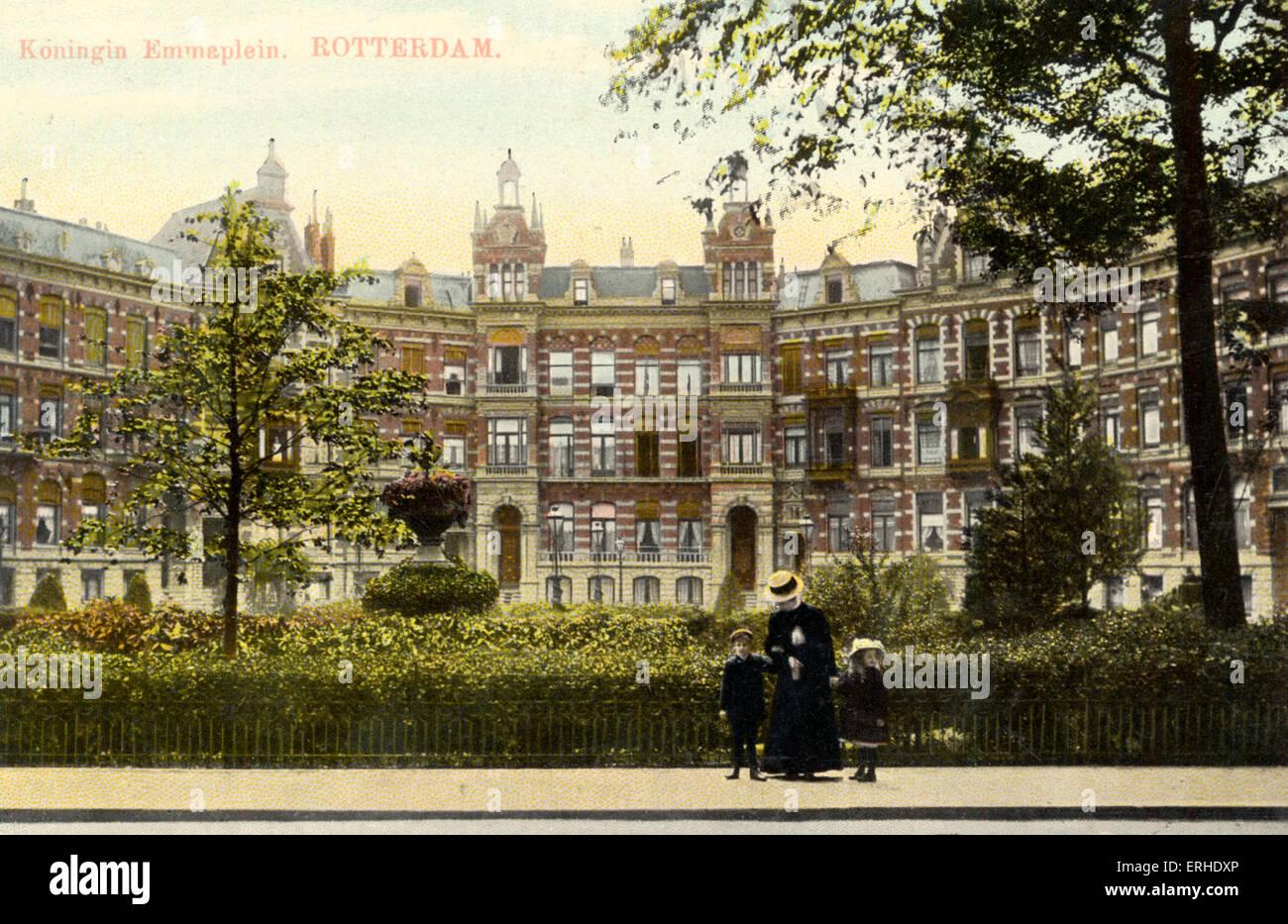 Rotterdam Square With Garden And Children. Koningin, Emmaplein, Queen Emma  Square Rotterdam