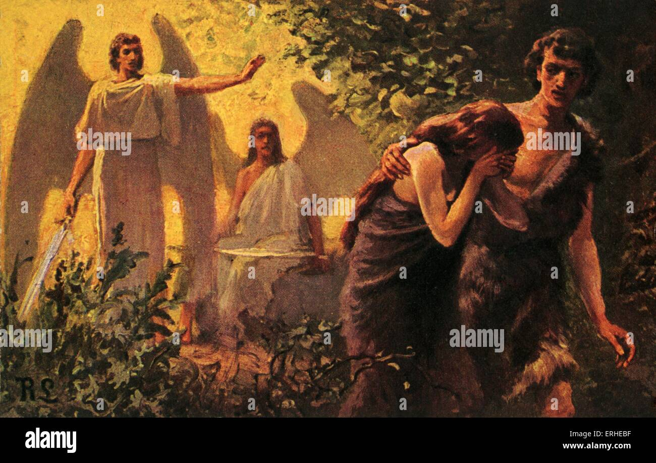 adam and eve cast out of the garden of eden biblical illustration stock photo 83363043 alamy