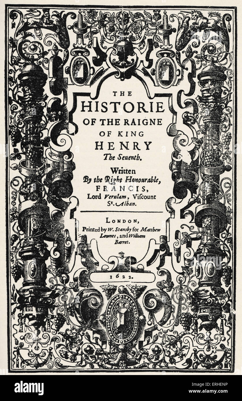 francis bacon english author philosopher title page from francis bacon english author philosopher title page from history of the reign of henry vii 1622 22 1561 9