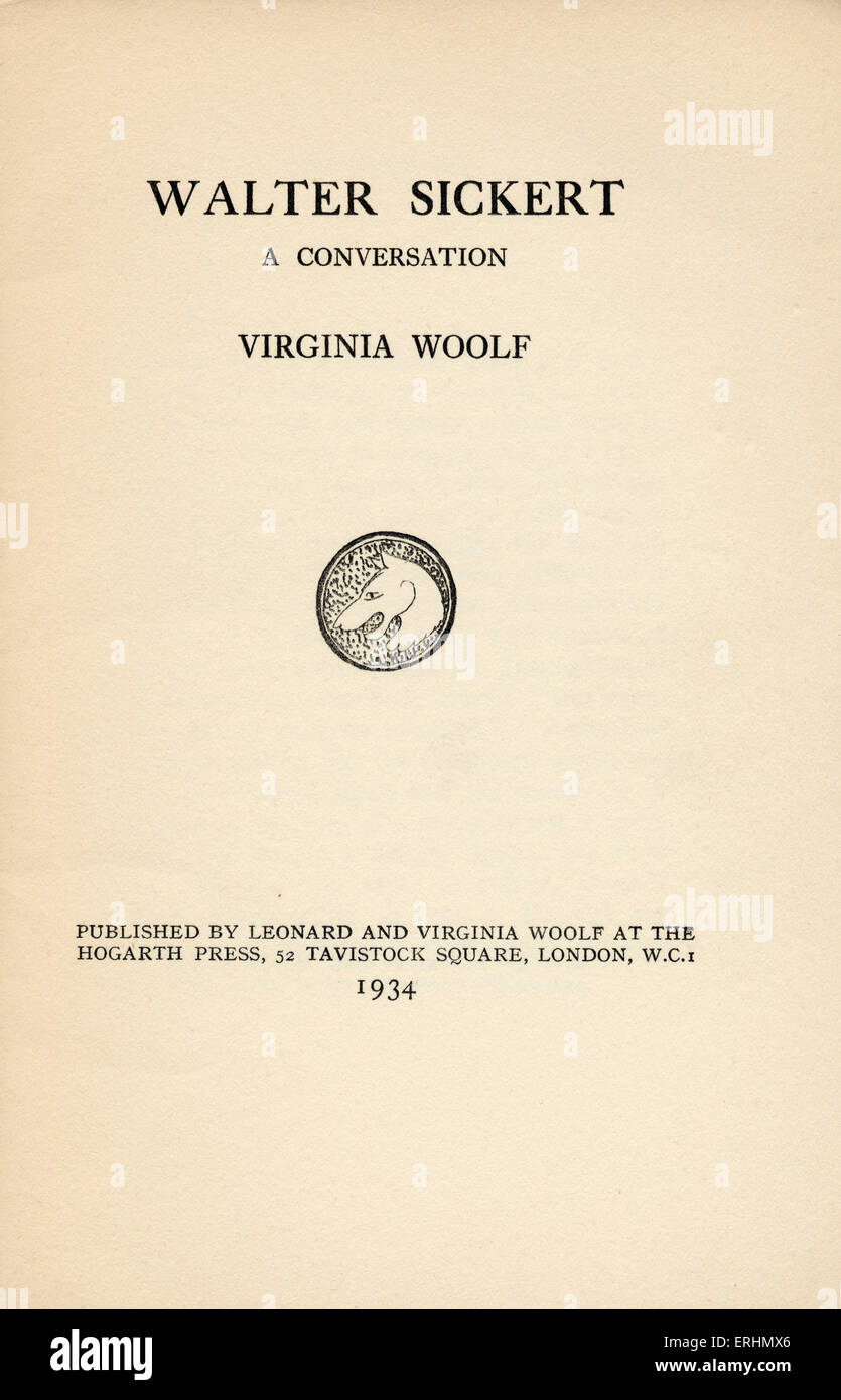 walter sickert a conversation by virginia woolf title page of stock photo walter sickert a conversation by virginia woolf title page of book published by leonard and virginia woolf at the hogarth