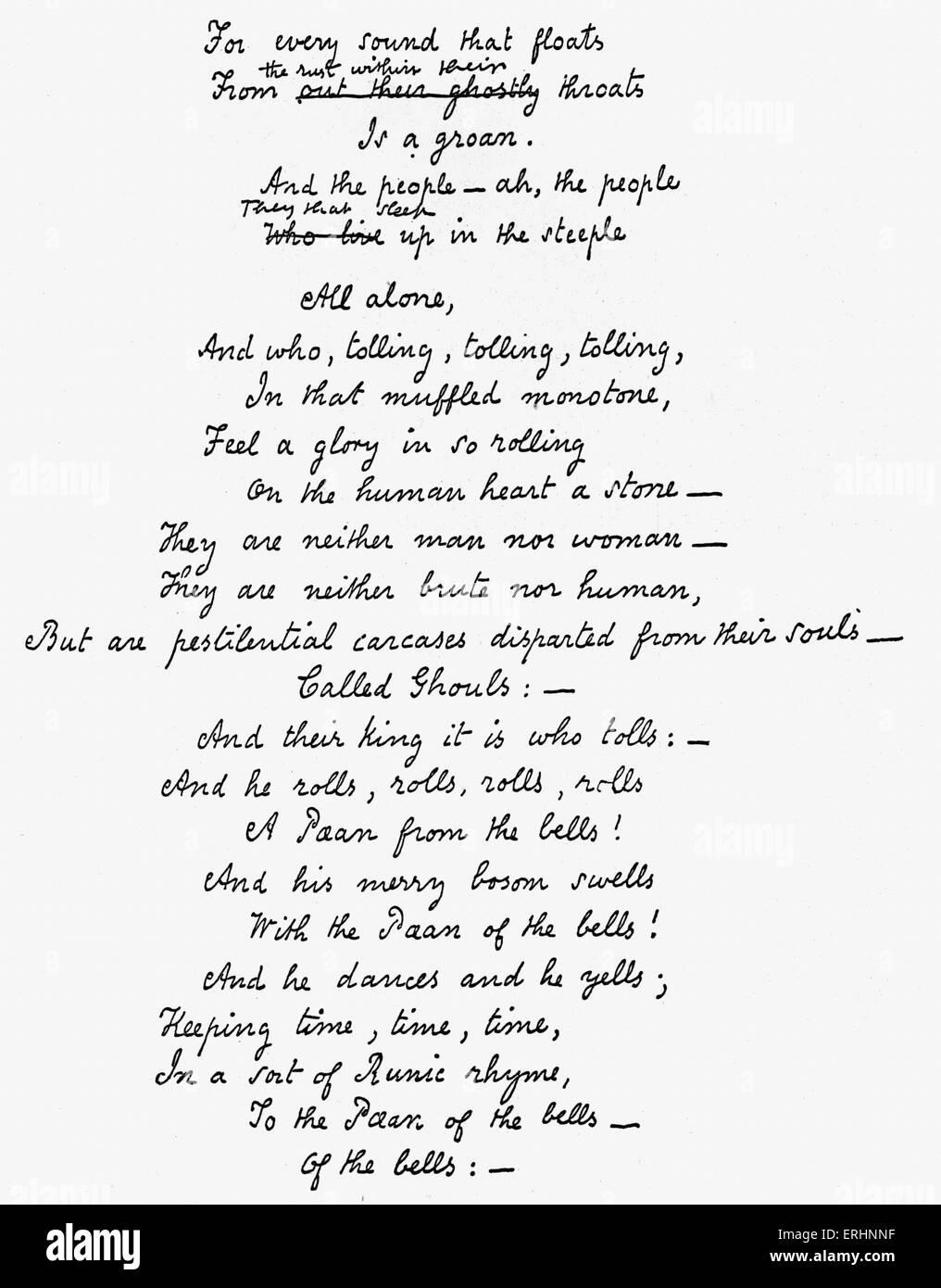 The Bells' - Edgar Allan Poe's handwritten manuscript of the last ...