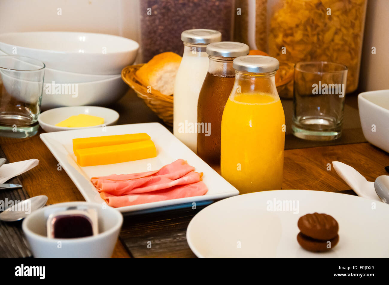 Breakfast Table Setting ~ Continental breakfast table setting at a hotel stock photo