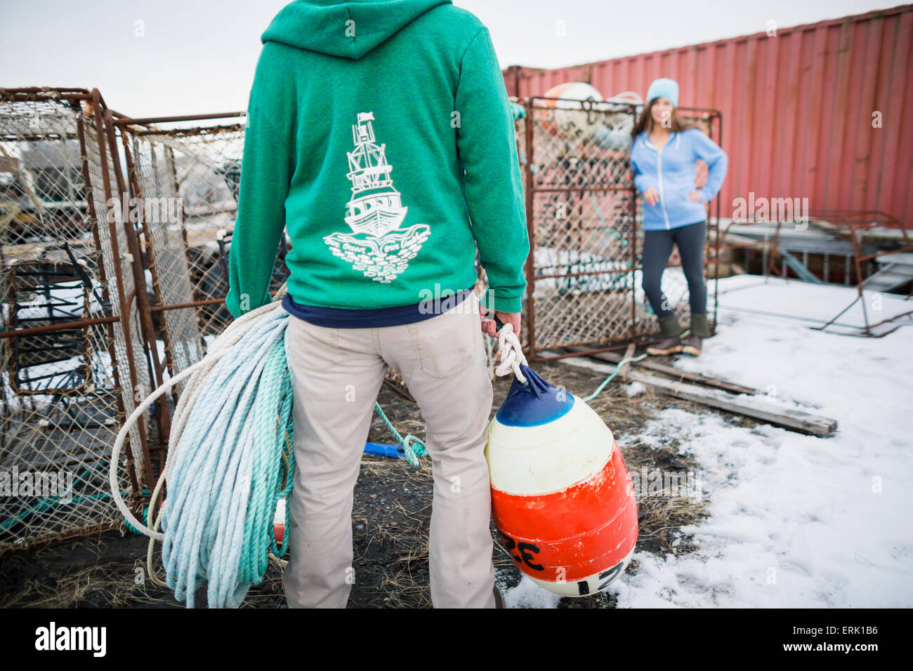 young adults with commercial fishing gear in a boat yard in homer, Reel Combo