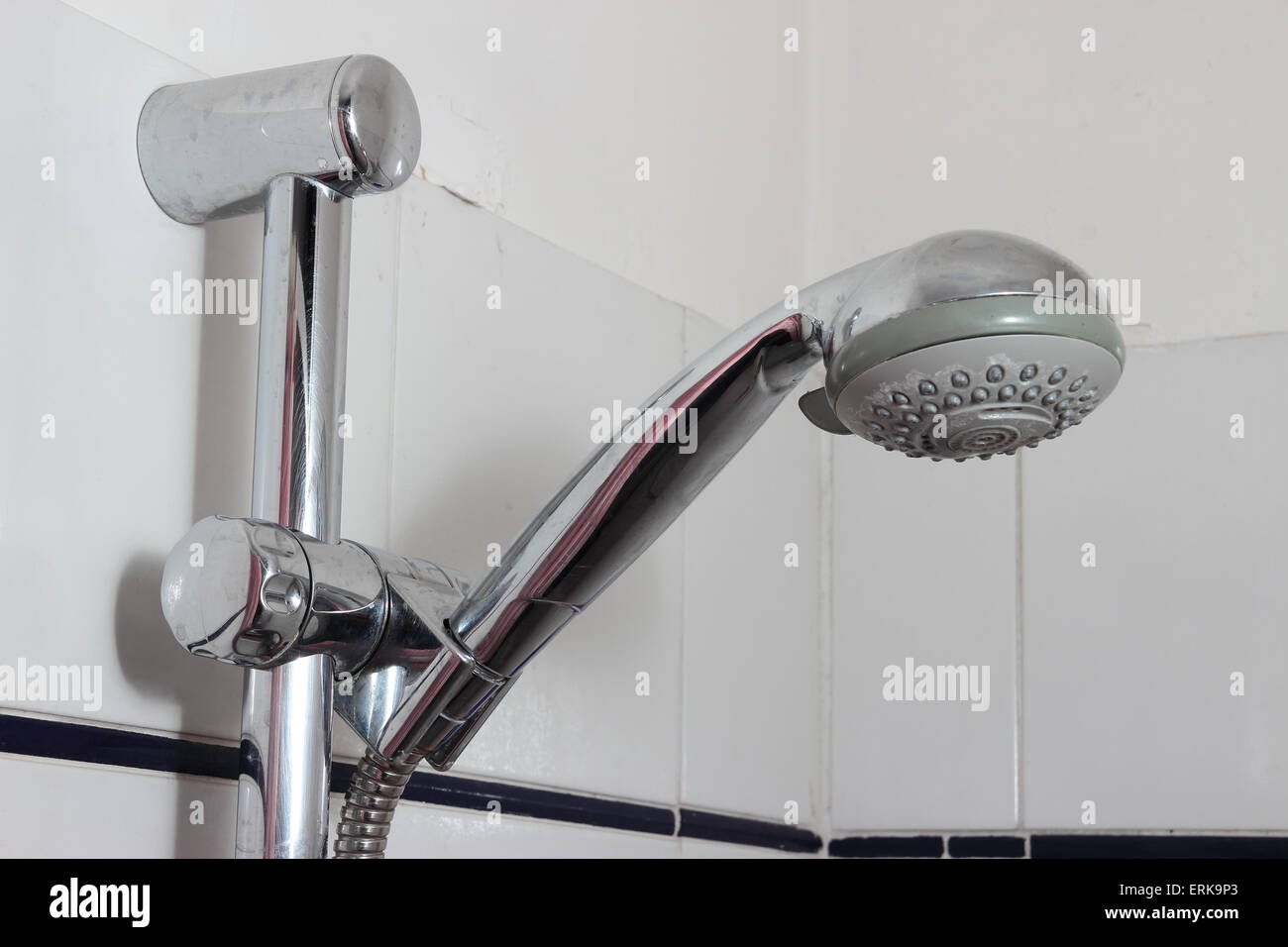 shower faucet with residual limestone closeup Stock Photo, Royalty ...