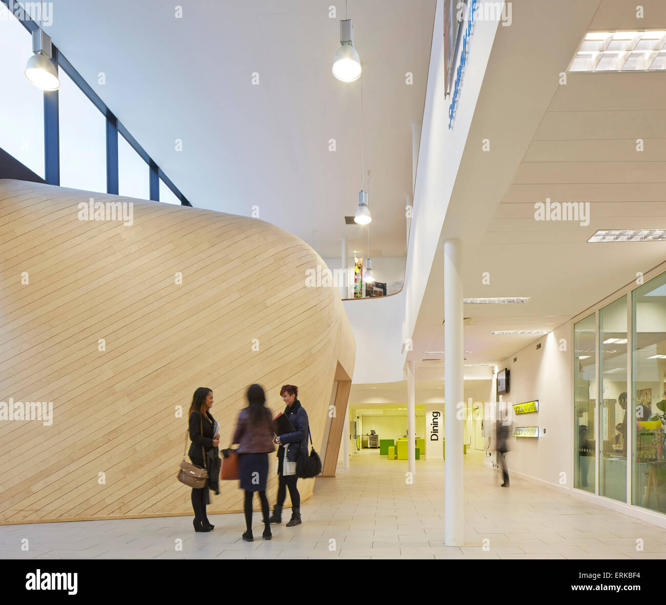 Entrance And Foyer With Timber Clad Performance Hall The Kings Church Of England School Wolverhampton United Kingdom Archit