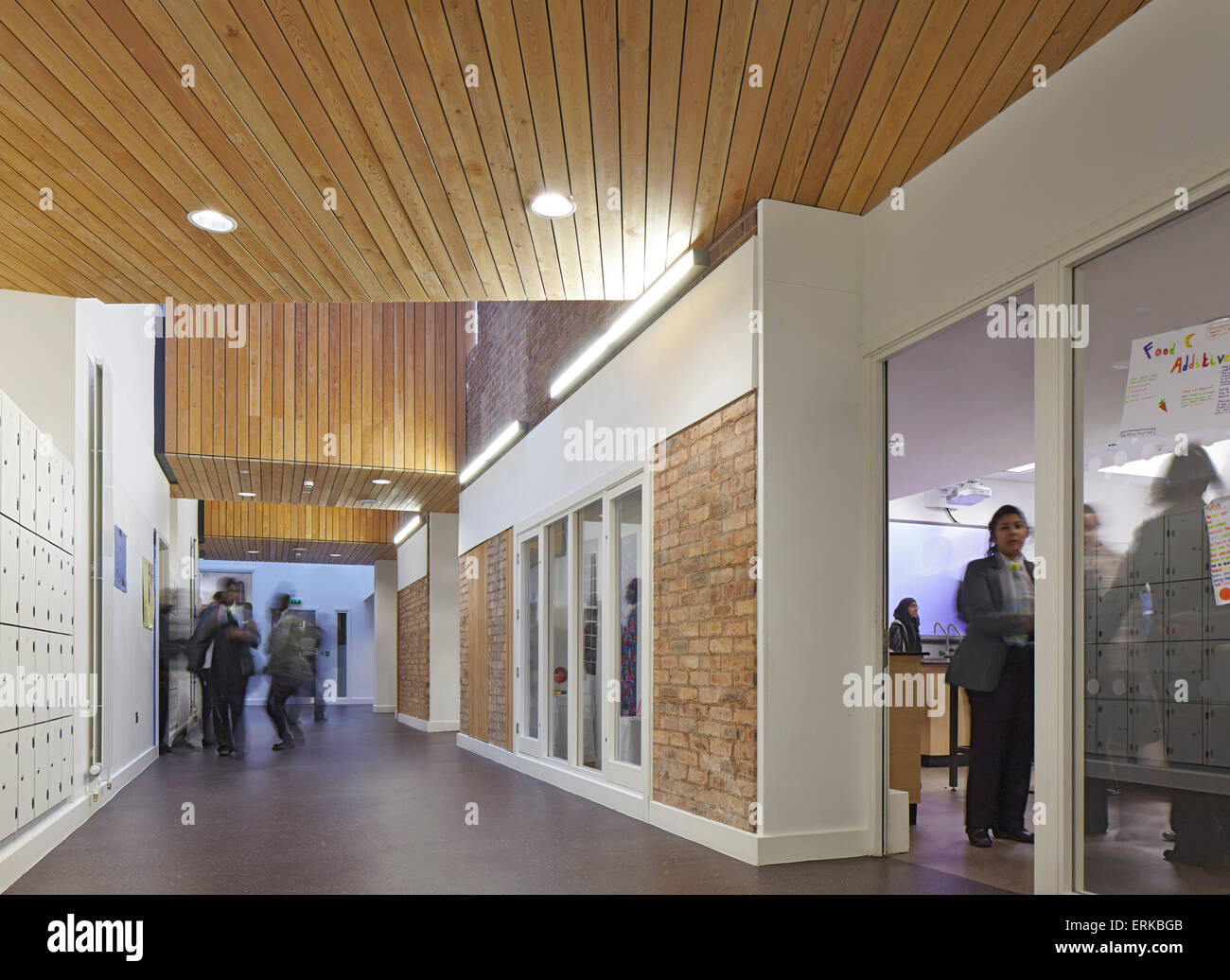 Circulation Corridor With View Of Classrooms The Kings Church England School Wolverhampton United Kingdom Architect Cap