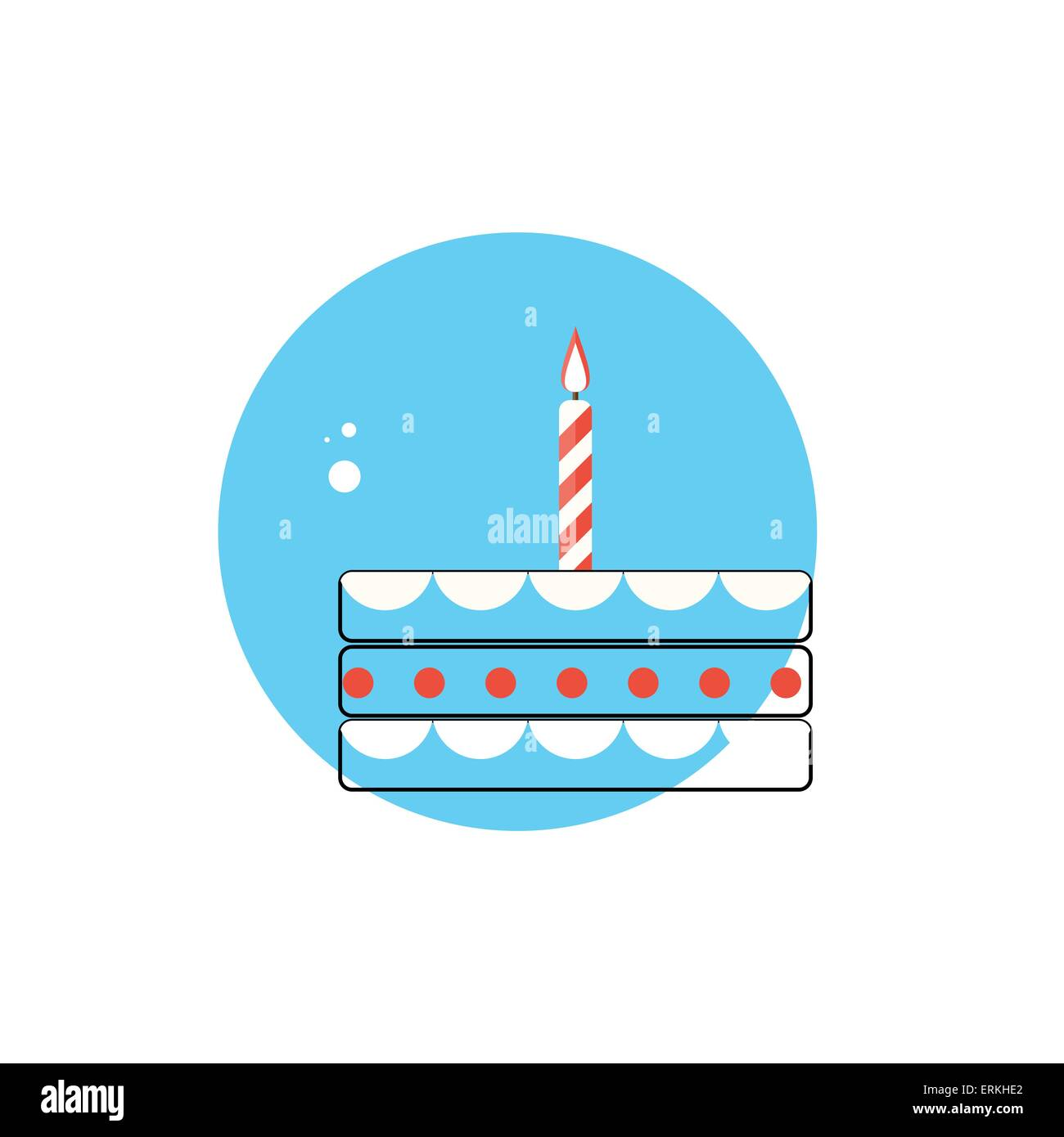 Line Icon with Flat Graphics Element of Birthday Cake Vector Ill