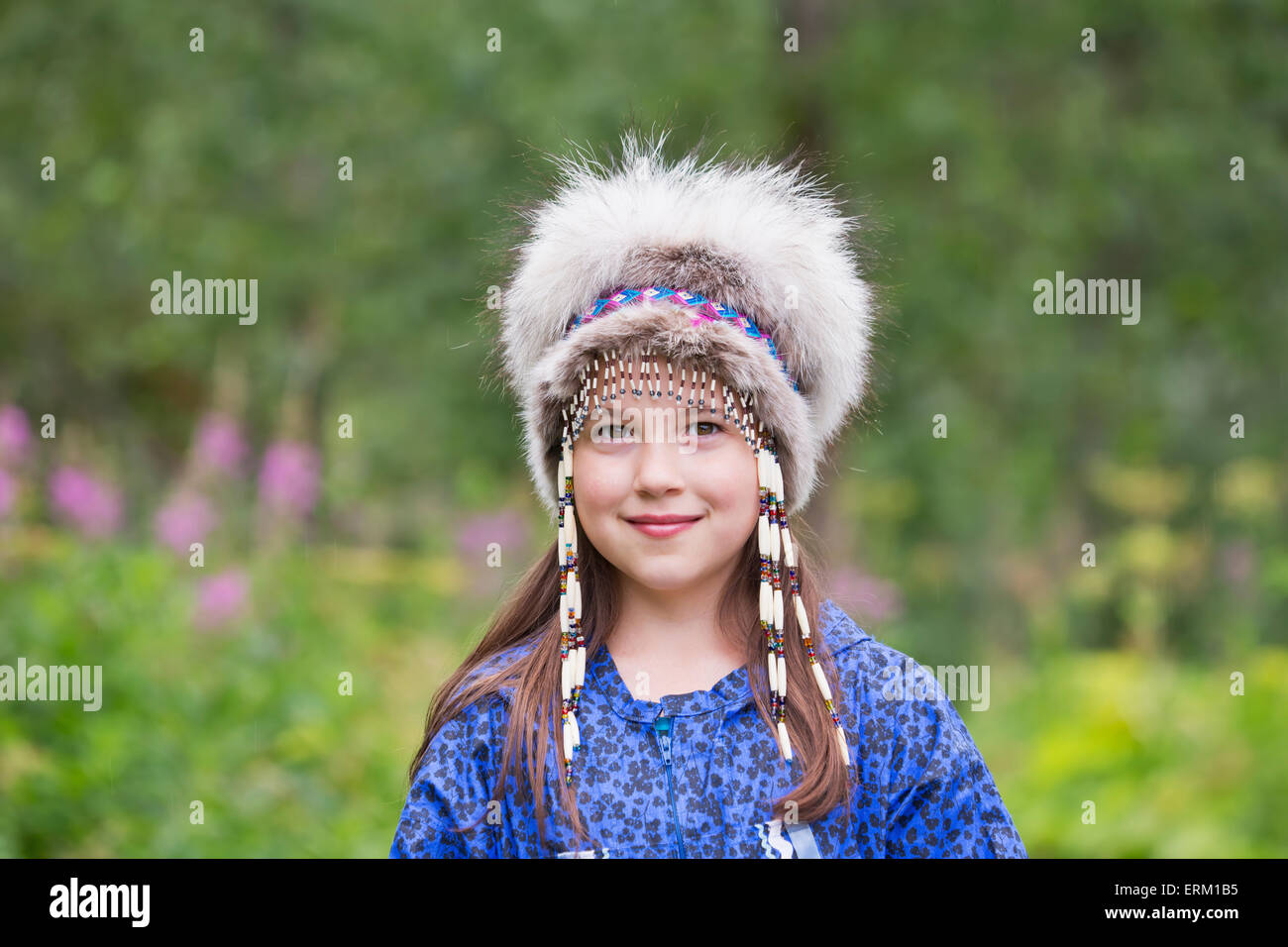 Stock Images of Tween Inupiat Eskimo girl in a traditional native ...