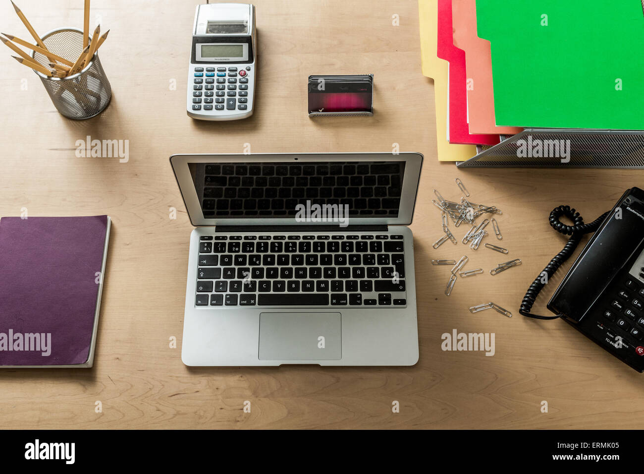 A Modern Work Space Home Office With Laptop Calculator
