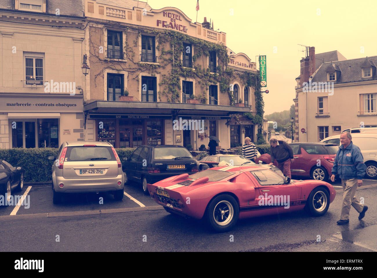 Ford gt 40 parked outside the hotel de france la chartre sur le loir stock p - La chatre sur le loir ...