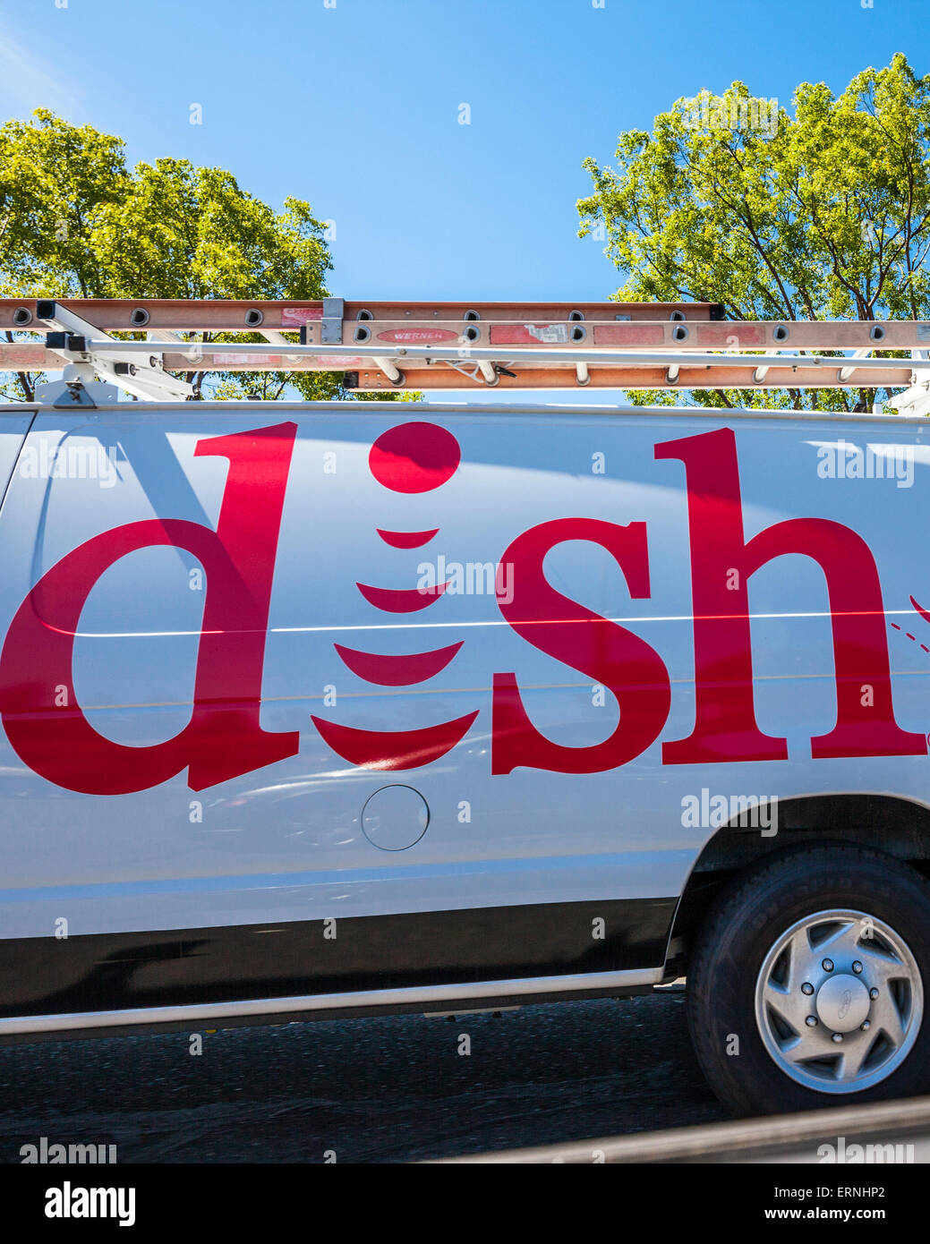 a dish network installers truck in california dish network installers
