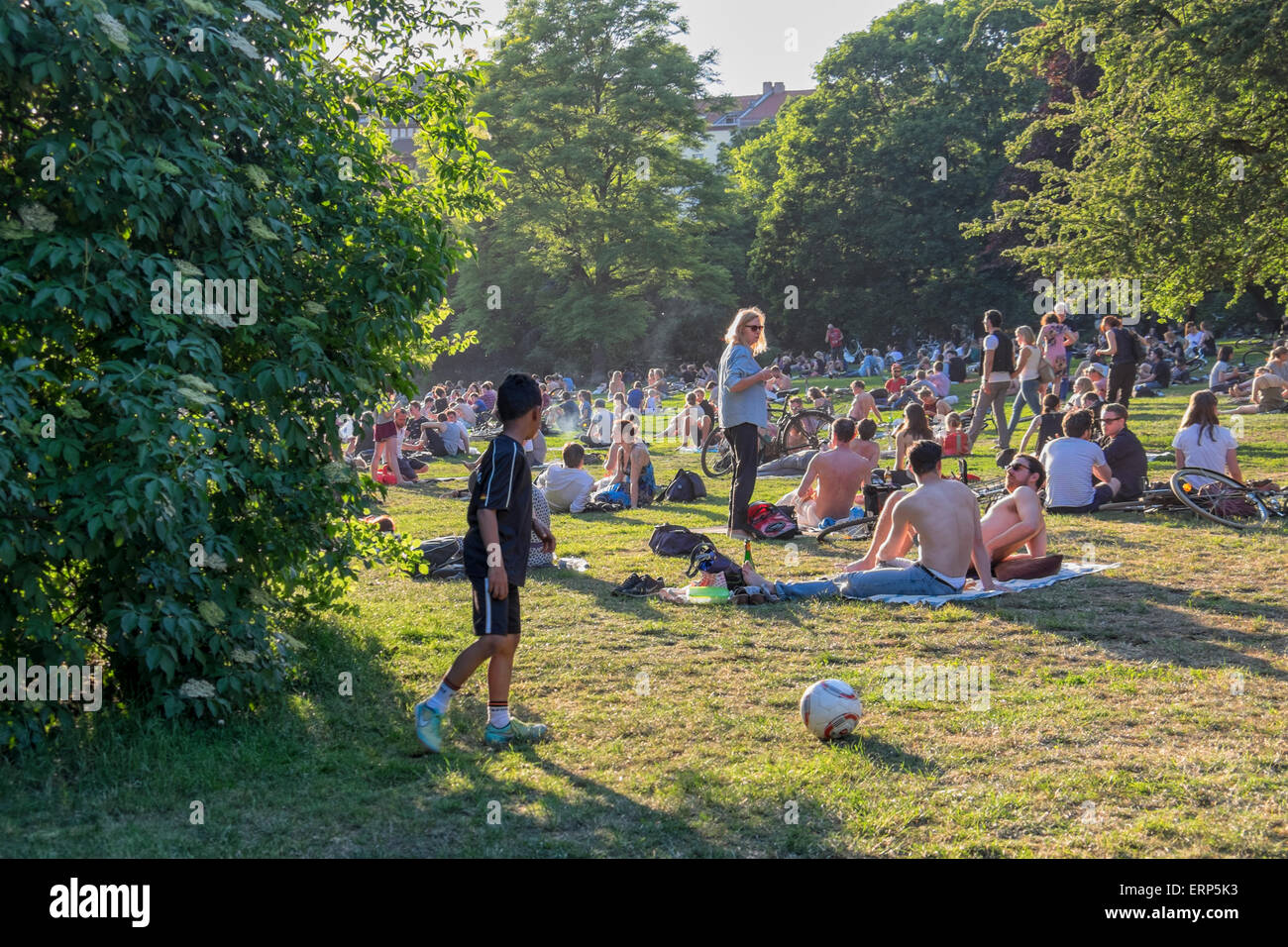 berlin germany 05th june 2015 berliners relax in the park as warm stock photo royalty free. Black Bedroom Furniture Sets. Home Design Ideas