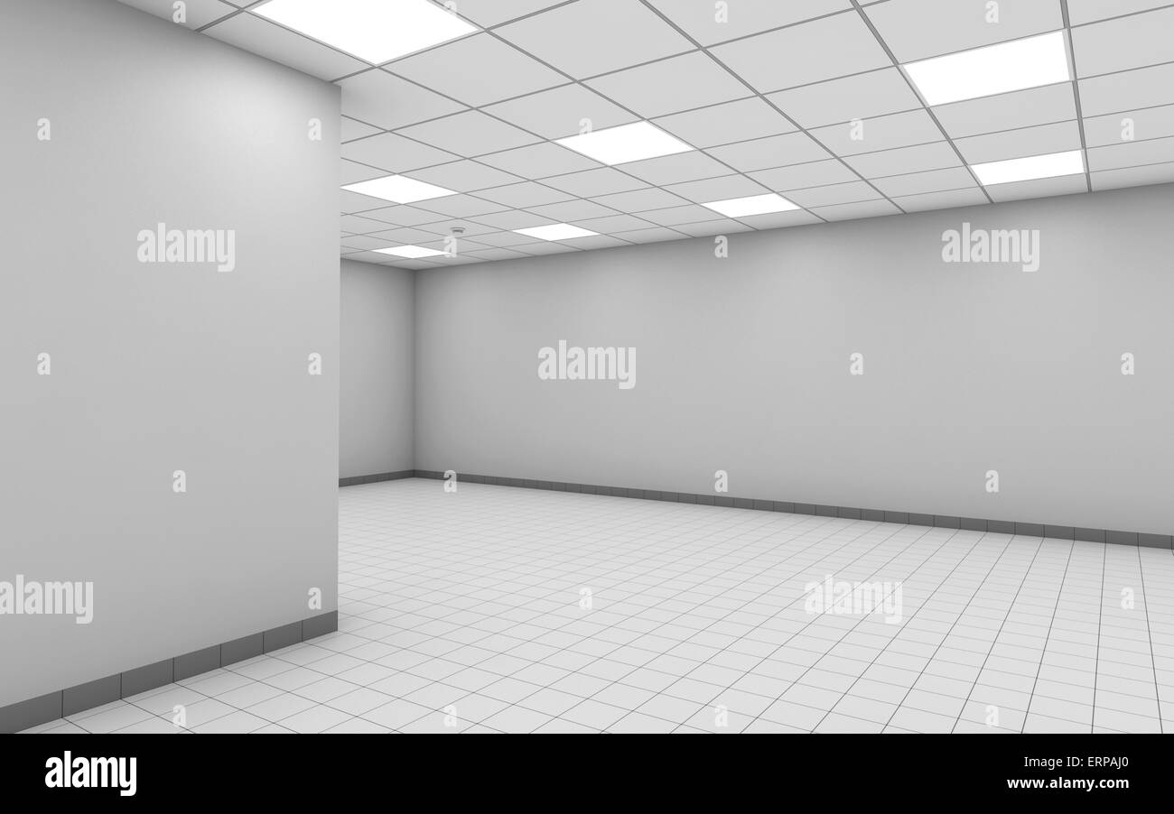 Abstract empty office room interior with white walls, ceiling lights ...