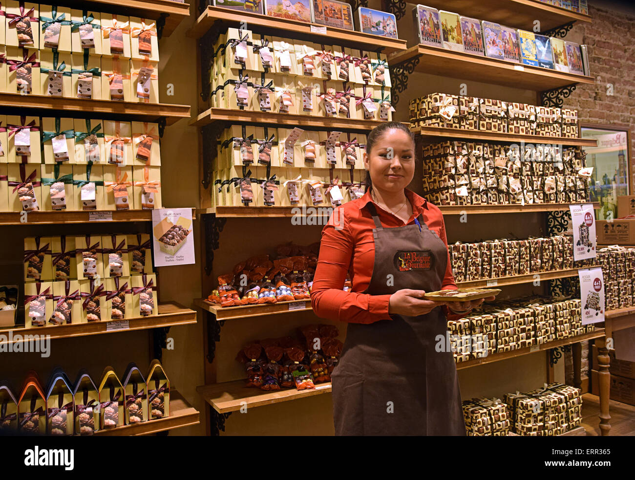 Portrait of a young lady who works in the chocolate shop Le ...